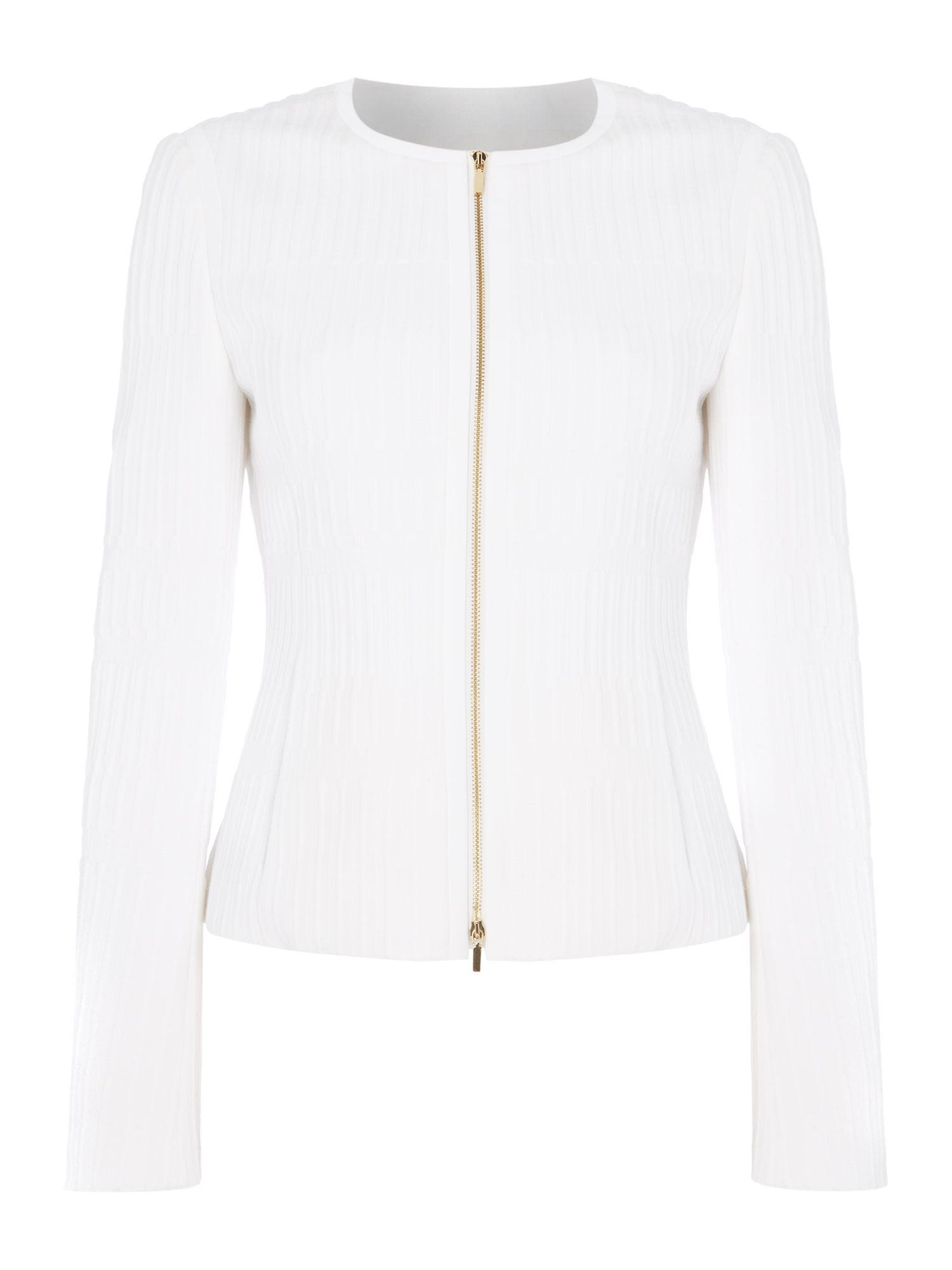Hugo Boss Kadea grid print zip through jacket, White