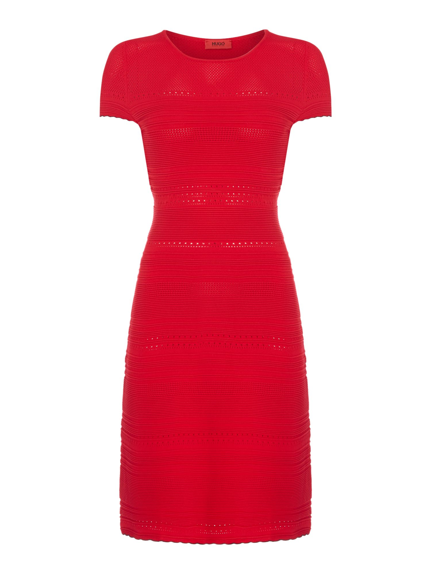 Hugo Sleeveless textured stripe dress, Red