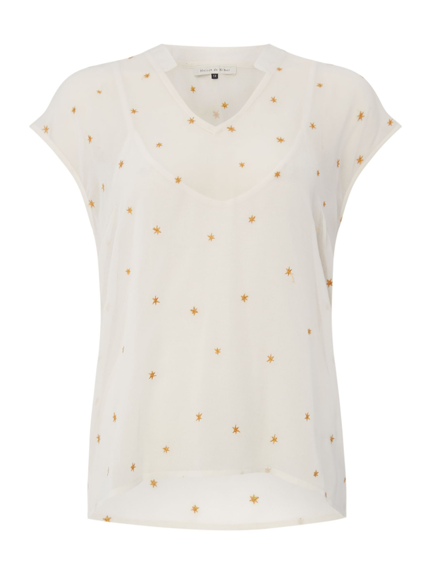Maison De Nimes Star Embroidery Blouse, Cream