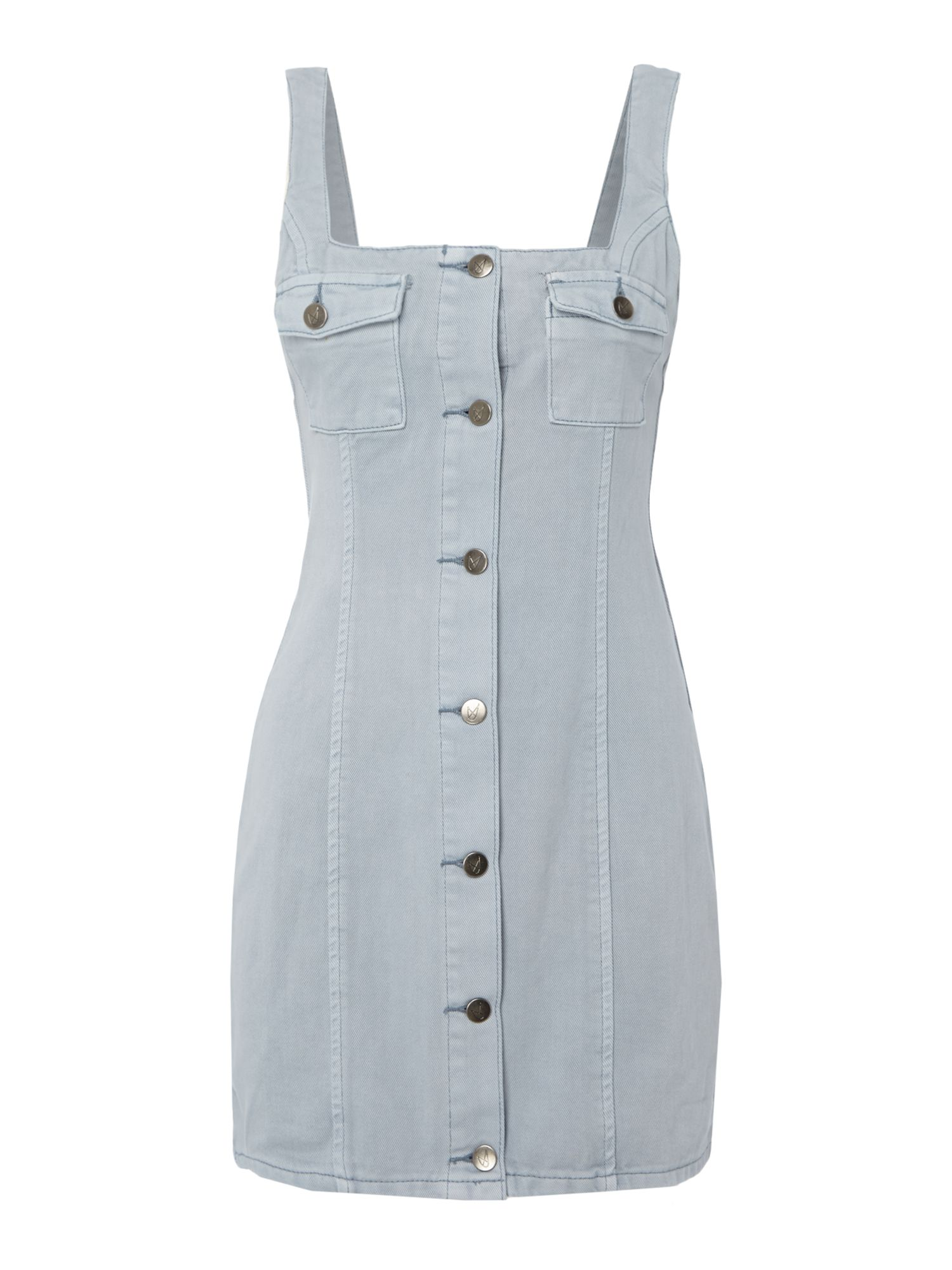 Mink Pink Button up shift denim dress, Sky Blue