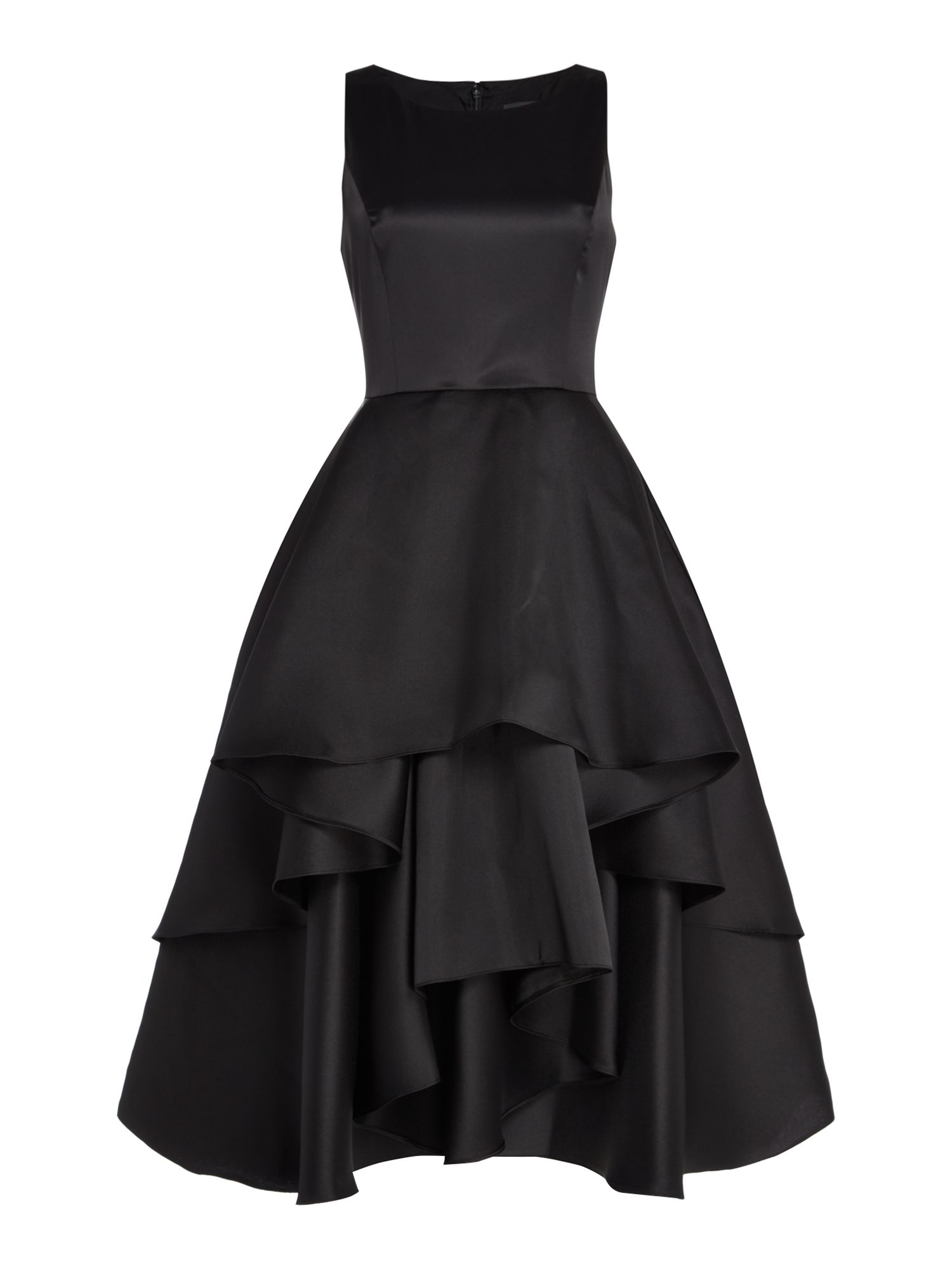 Adrianna Papell Emerald satin dress with frill top, Black