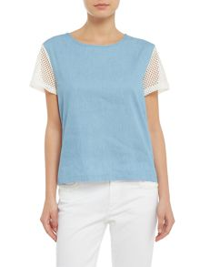 Mink Pink mesh short sleeves cut out top