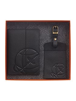 Globe Embosses Leather Passport Holder