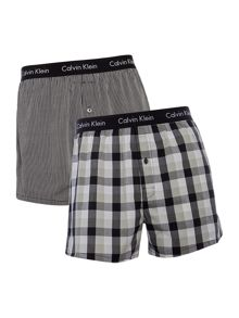Calvin Klein Stripe and Check Woven Boxer, 2 Pack