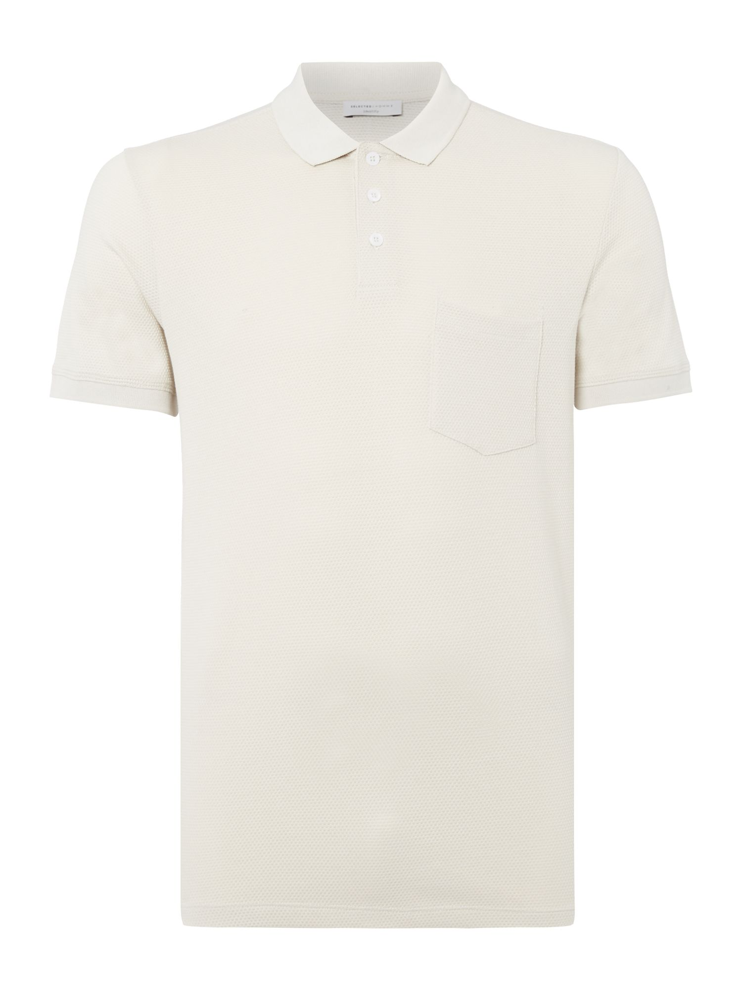Men's Selected Homme Rick Pique Polo, Ecru