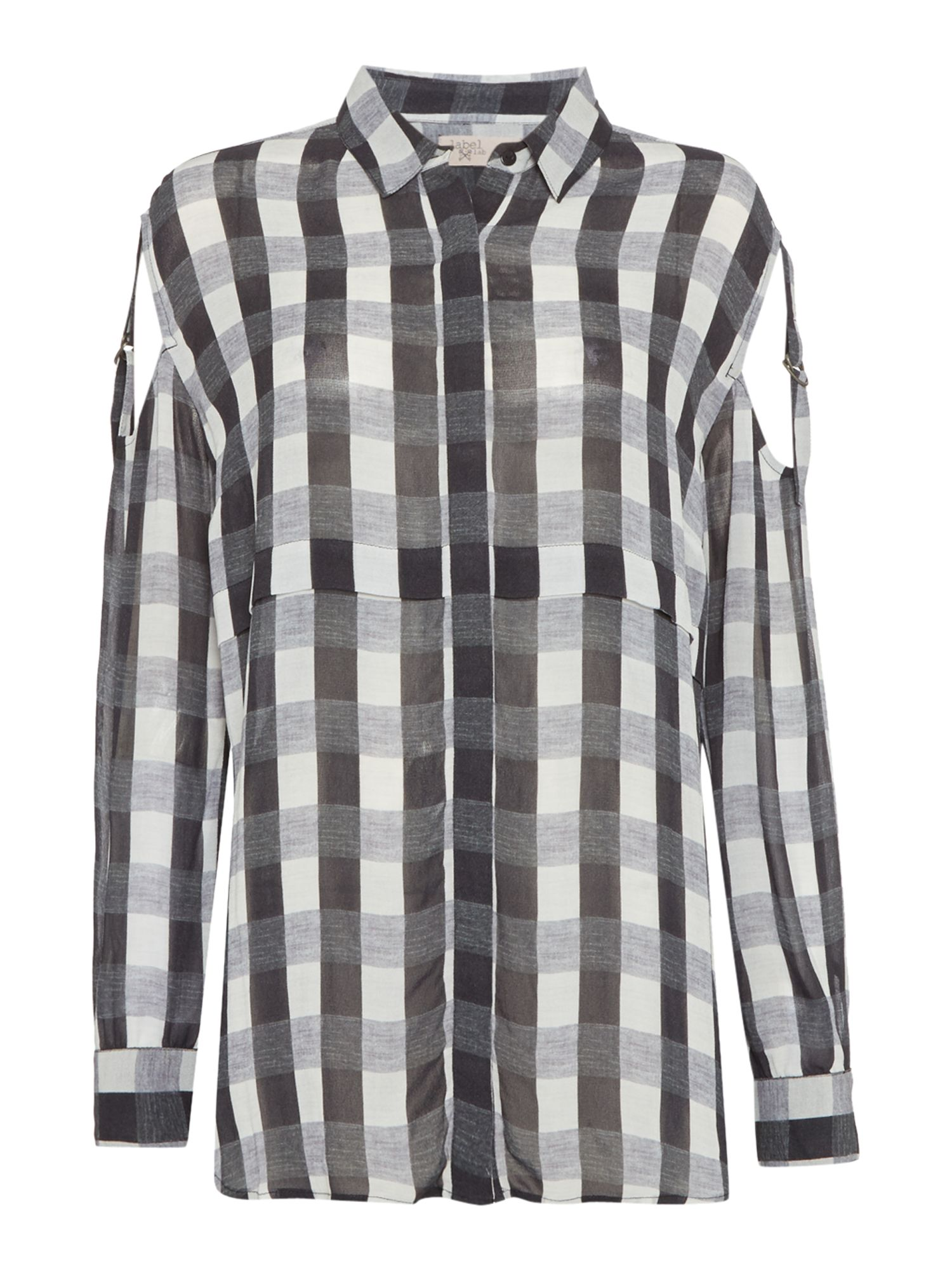 Label Lab Gingham Check Blouse, Blue