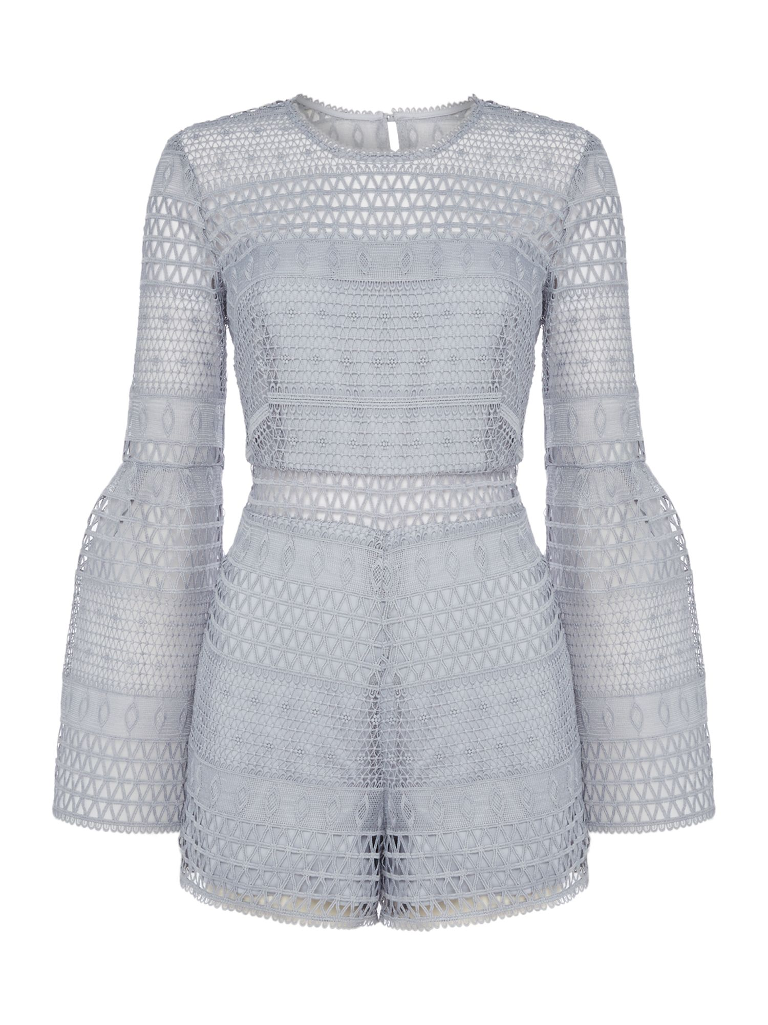 Bardot Kristy Bell sleeve lace short playsuit, Blue