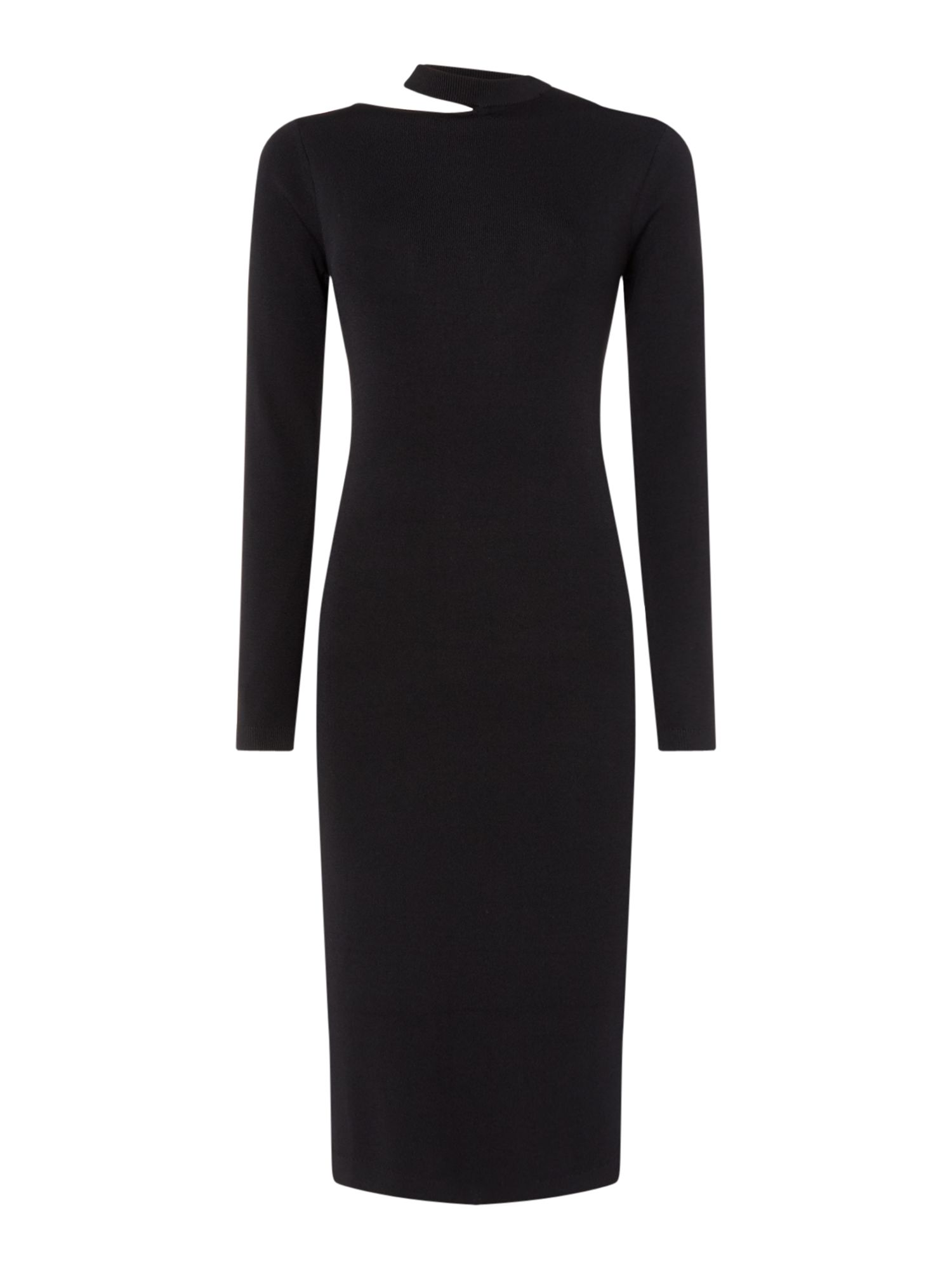 Linea Thea knitted slit neck dress, Black