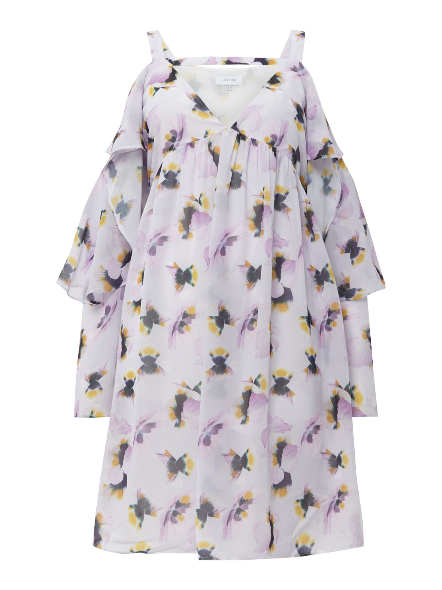 Lost Ink Edie pansy print cold shoulder dress, Pale Pink