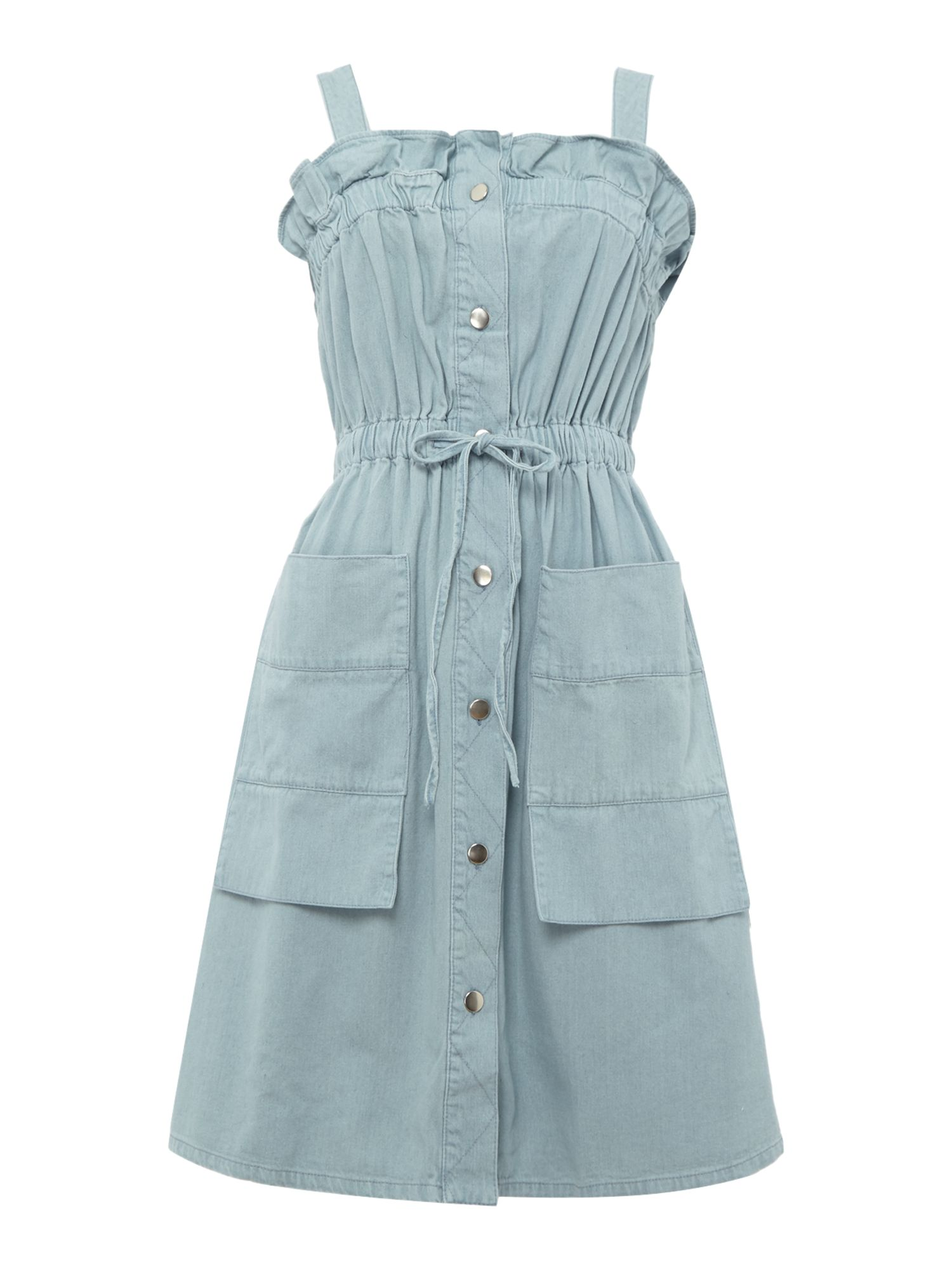Lost Ink Dungaree waist tie denim short dress Denim Light Wash