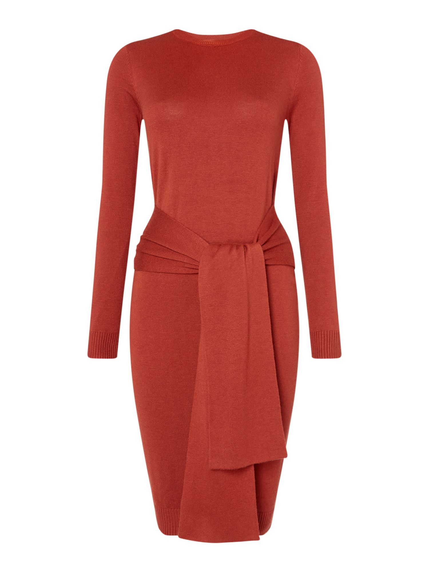 Linea Lena knitted tie front dress, Rust