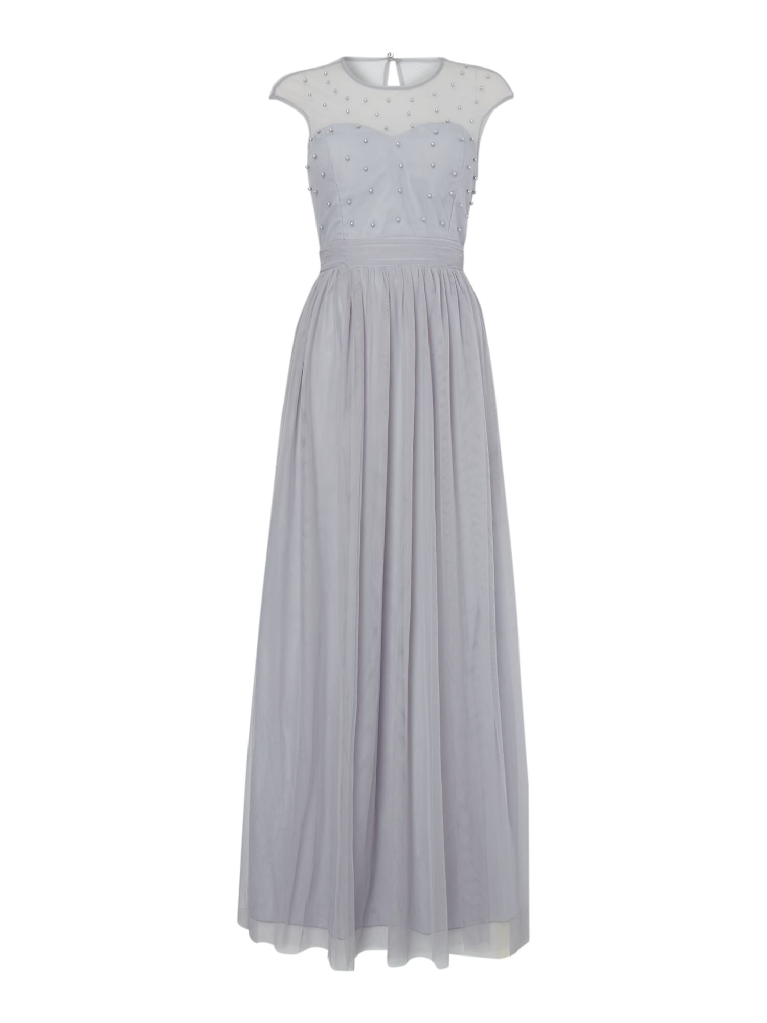 Little Mistress mesh top maxi dress with cap sleeves in grey., Blue
