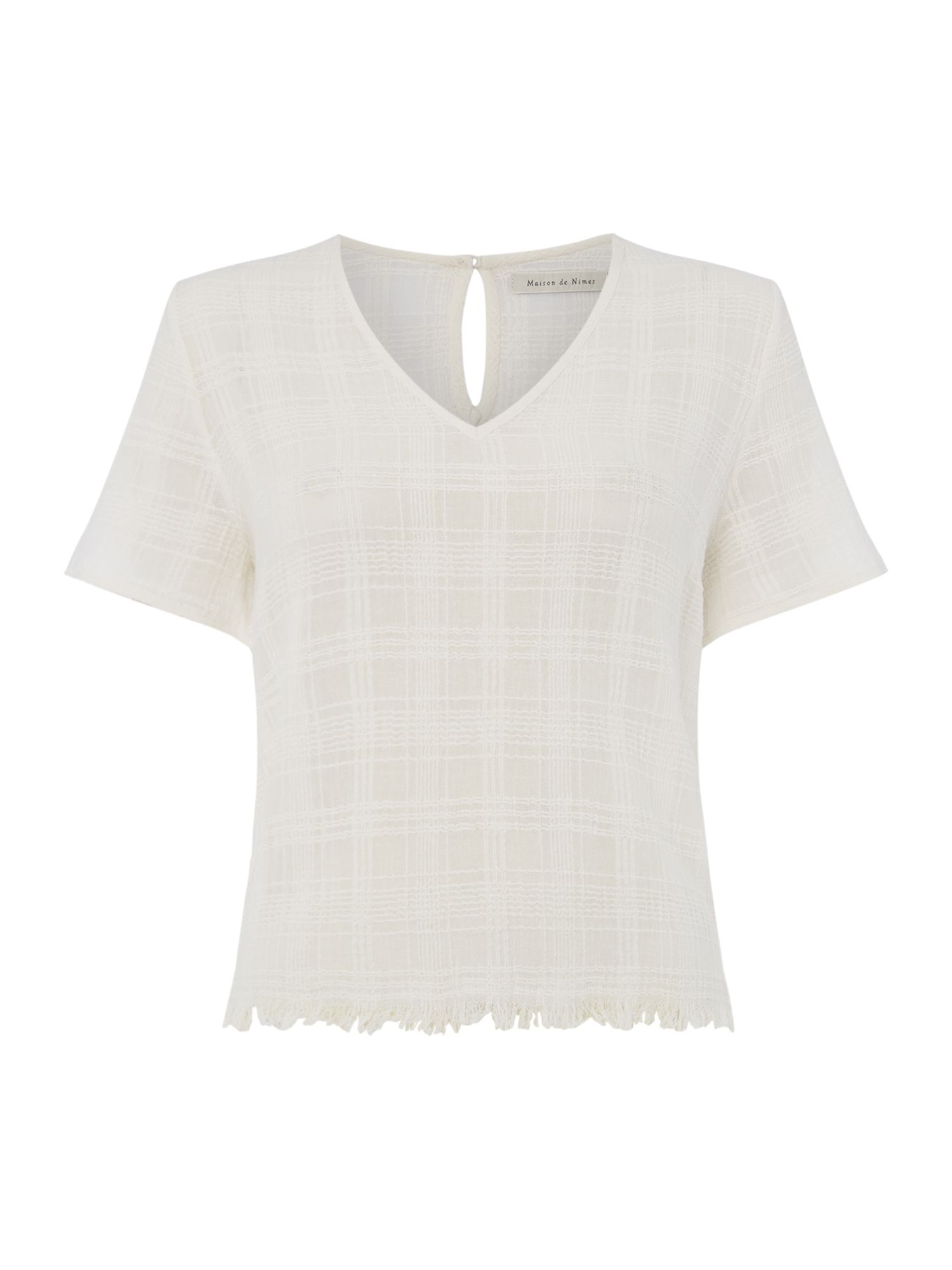 Maison De Nimes Kimaya frayed check top, Off White