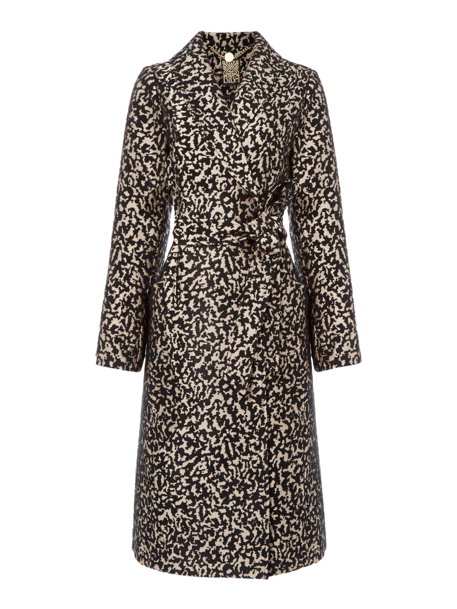 Biba Abstract Leopard Belted Coat, Multi-Coloured