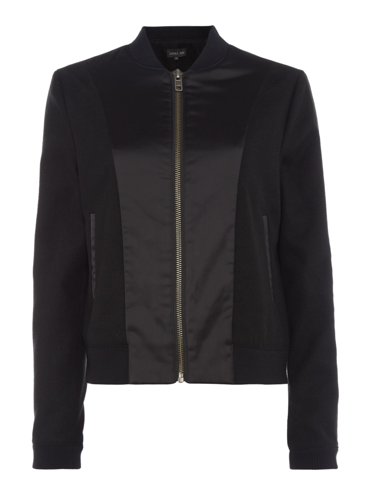 Label Lab Satin & Melton Bomber, Black