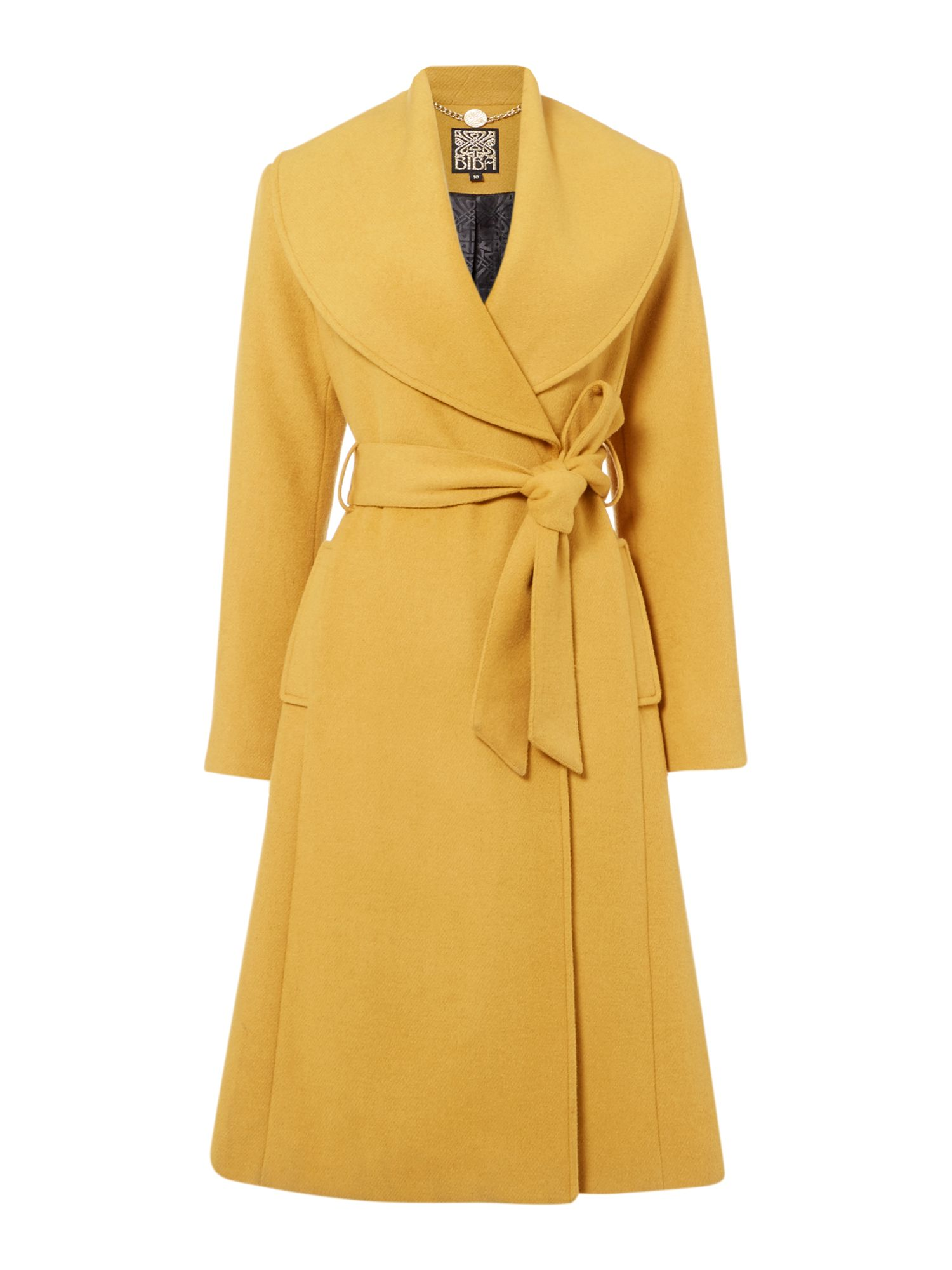 Biba Belted essential wool coat, Yellow