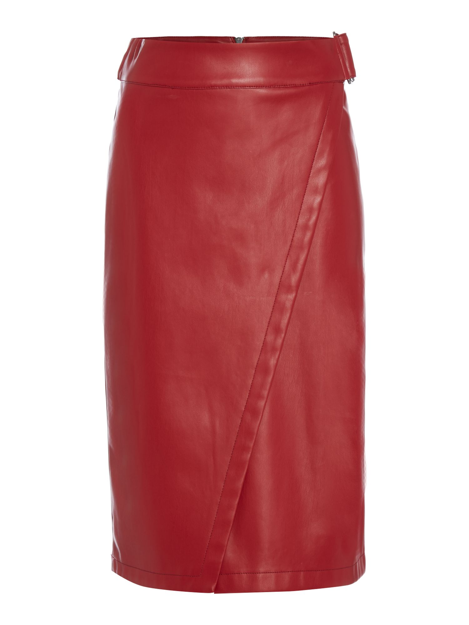 Biba Wrap front pu skirt, Red