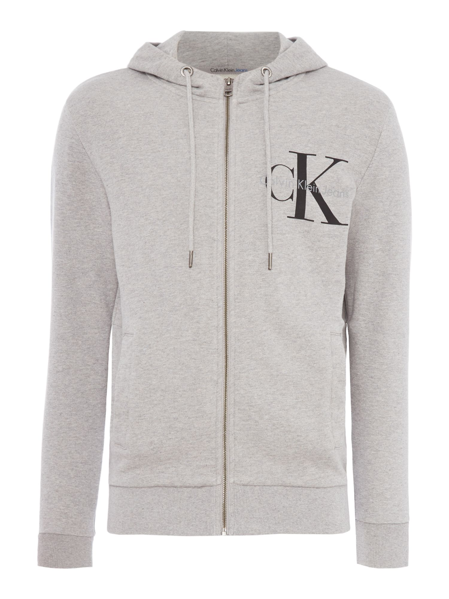 Men's Calvin Klein Haro True Icon Zip Through Hoody, Light Grey