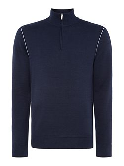 Half zip contrast trim jumper