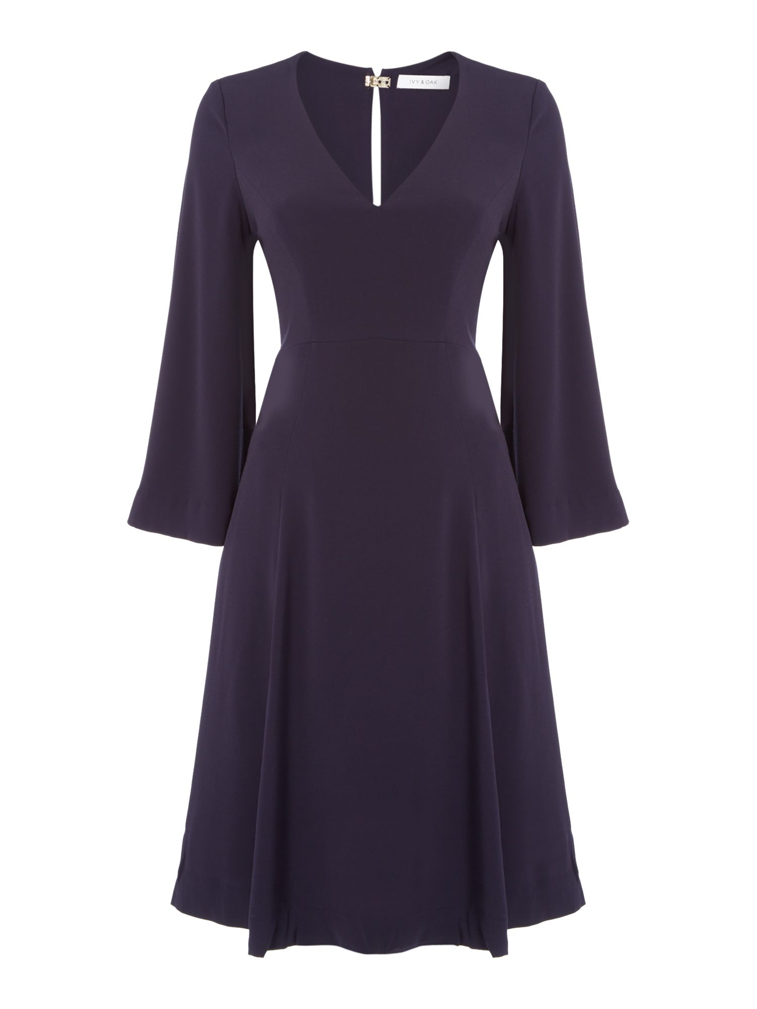 Ivy & Oak Long sleeve v neck midi dress, Blue