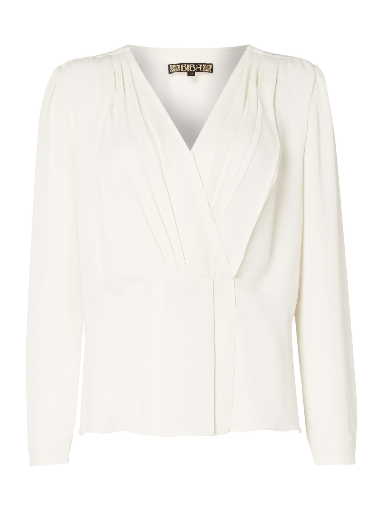 Biba Pleat front peplum blouse, White