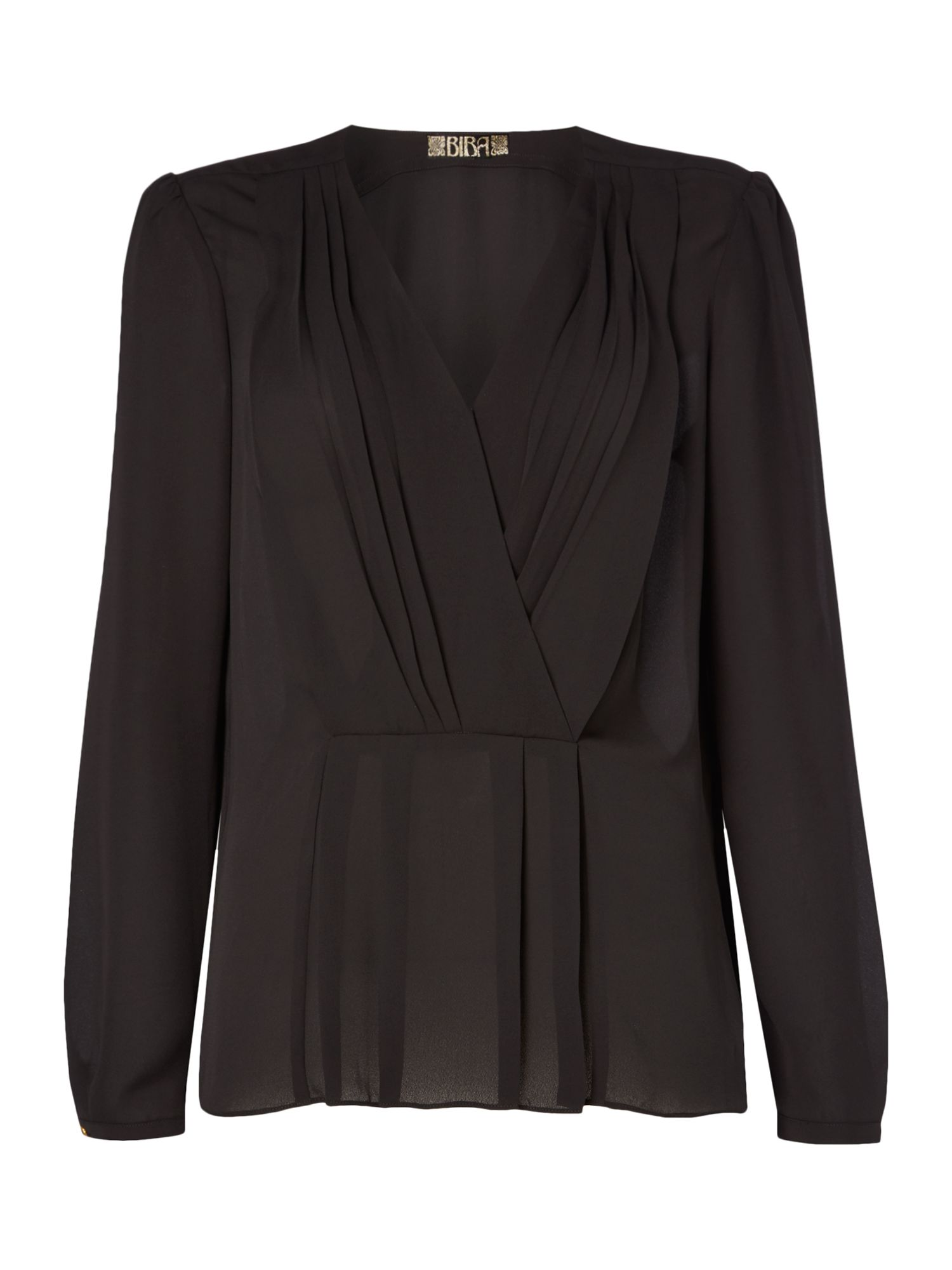 Biba Pleat front peplum blouse, Black
