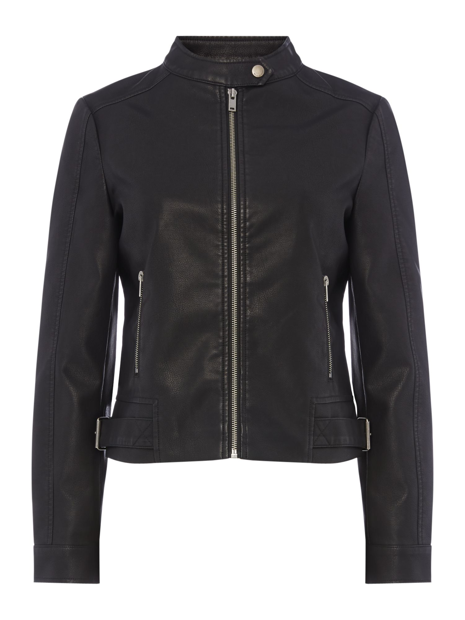 Maison De Nimes Faux Leather Motor Biker Jacket, Black