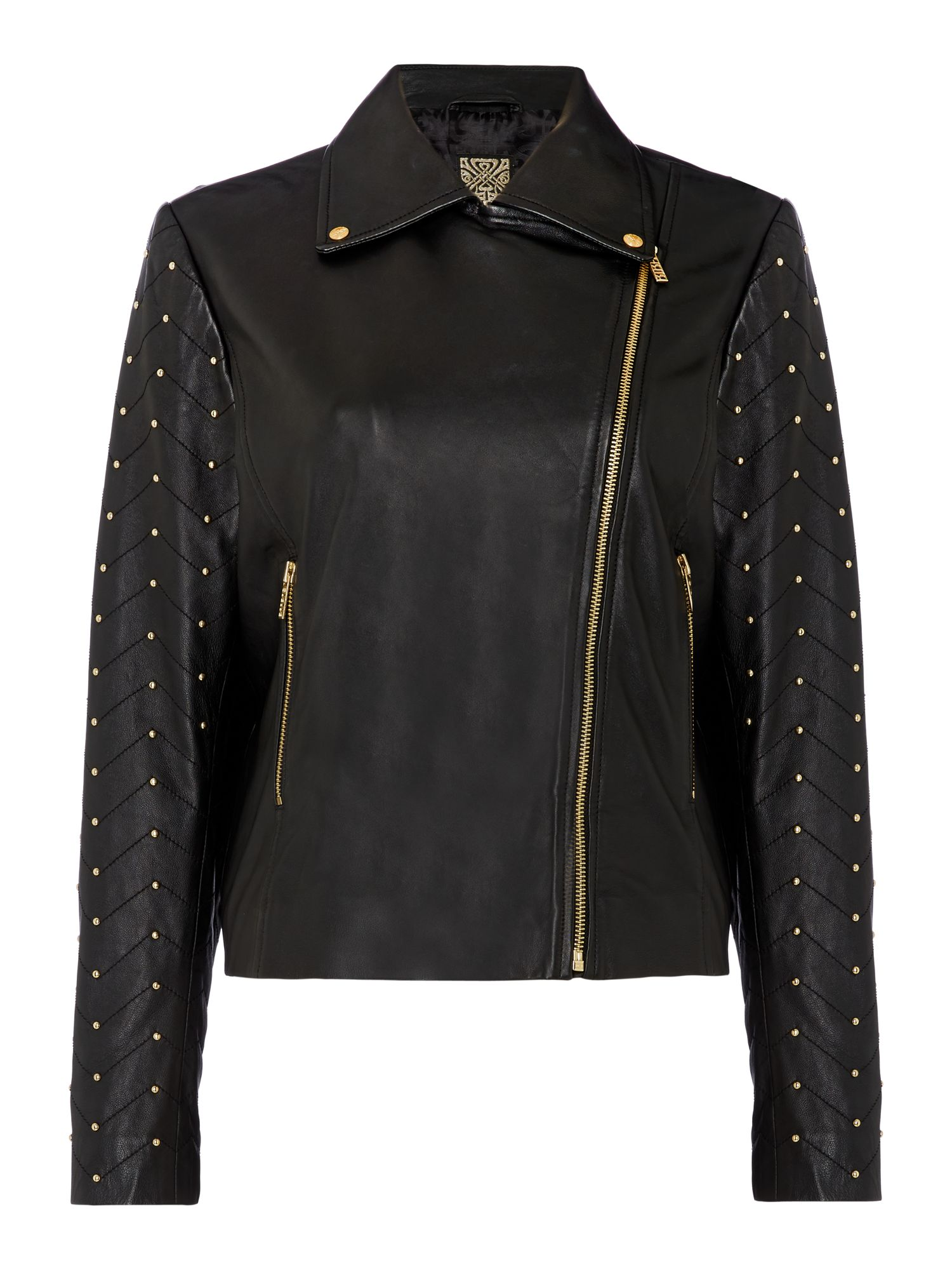 Biba Leather studded biker jacket, Black