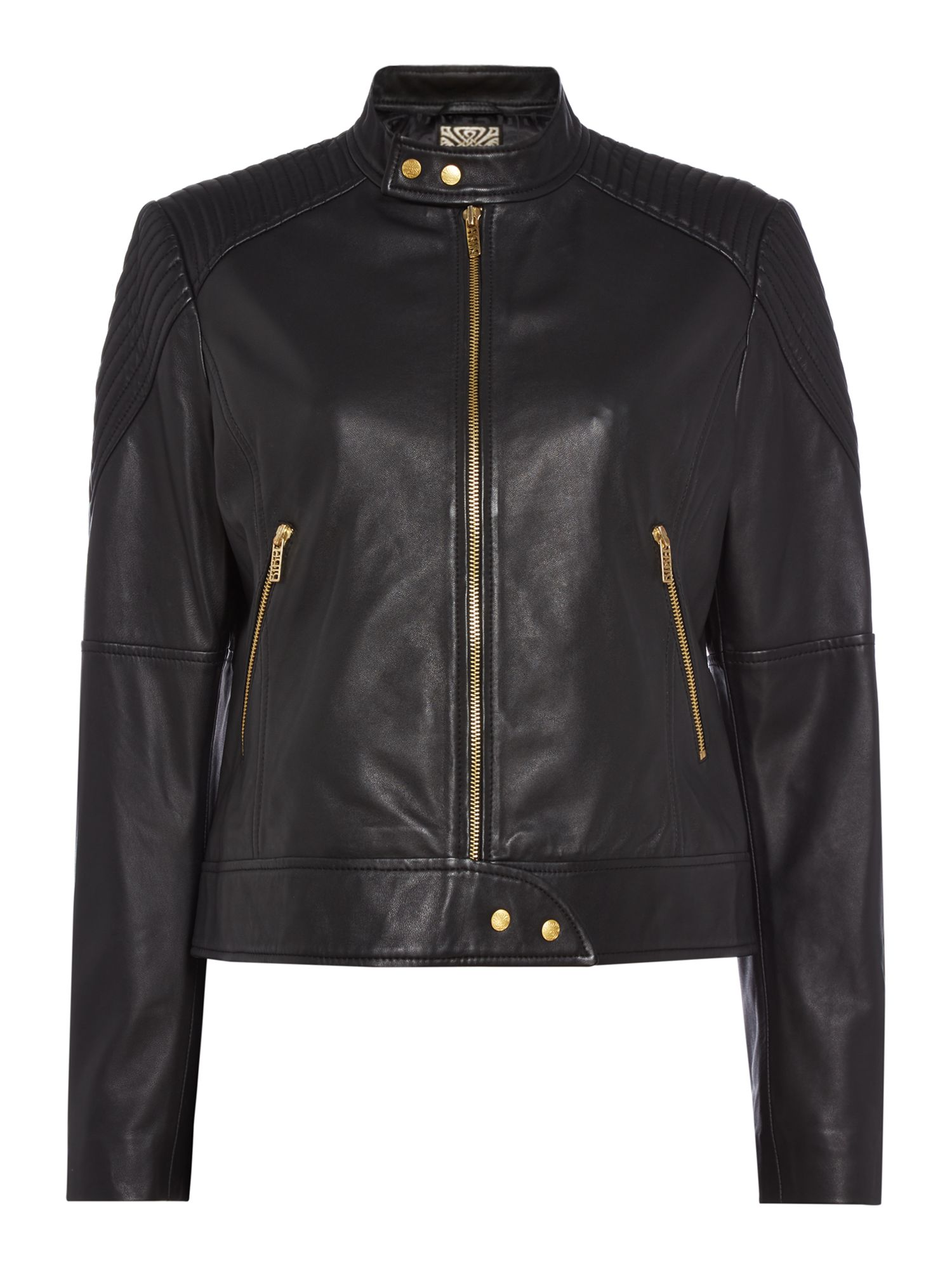 Biba Leather moto cross biker jacket, Black