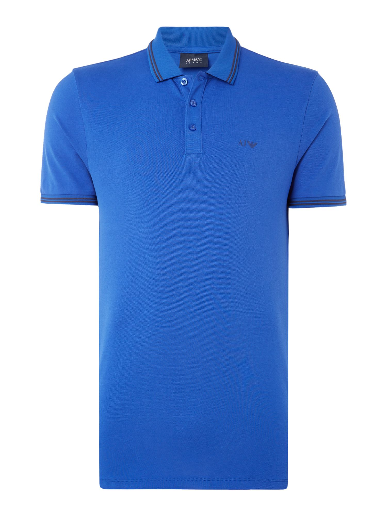 Men's Armani Jeans Regular fit tipped logo polo, Bright Blue