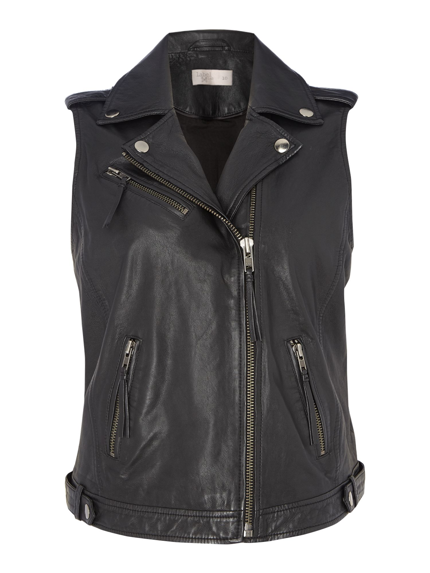 Label Lab Leather Gilet, Black