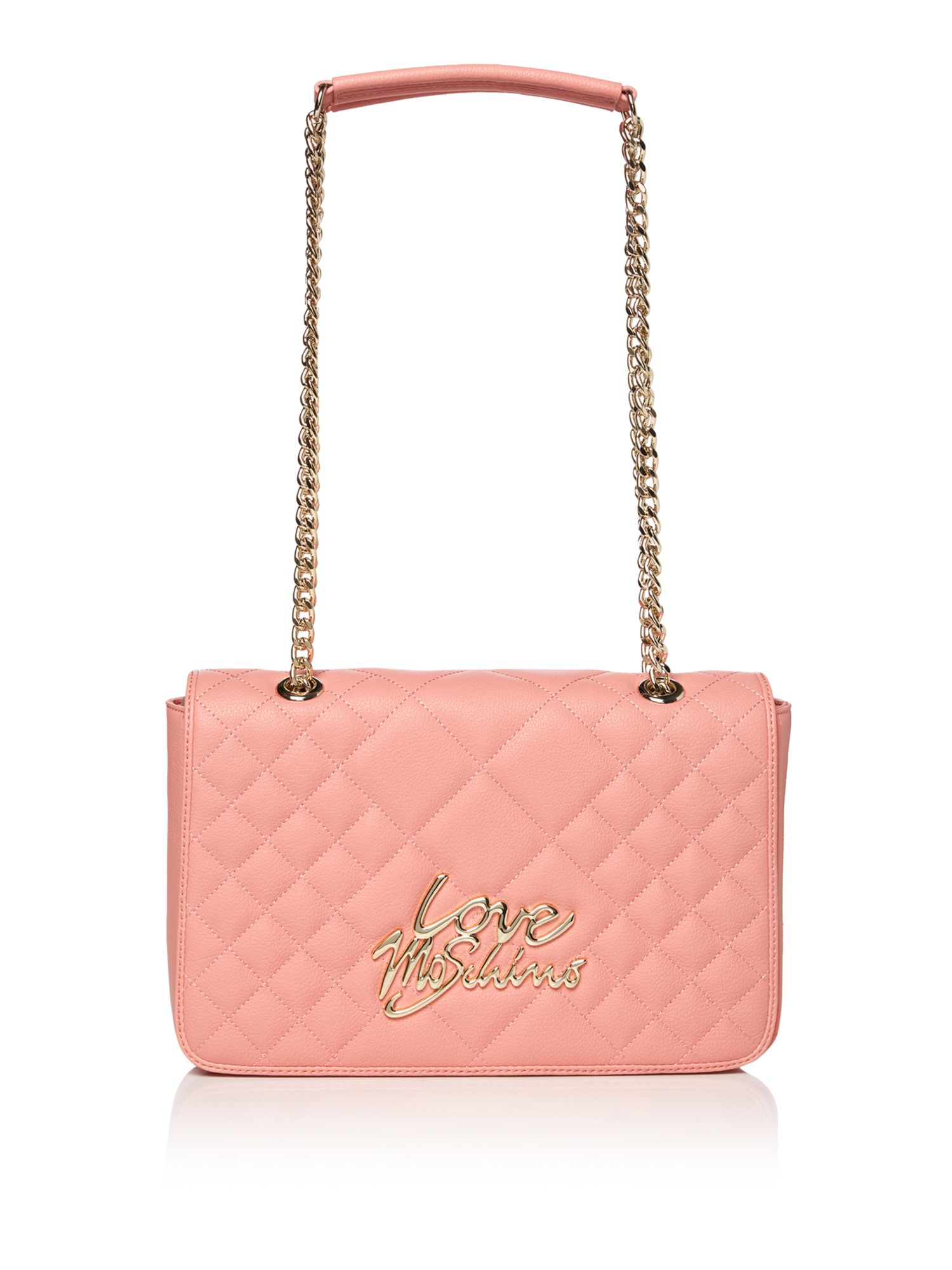 Love Moschino Love quilt foldover shoulder bag, Pink