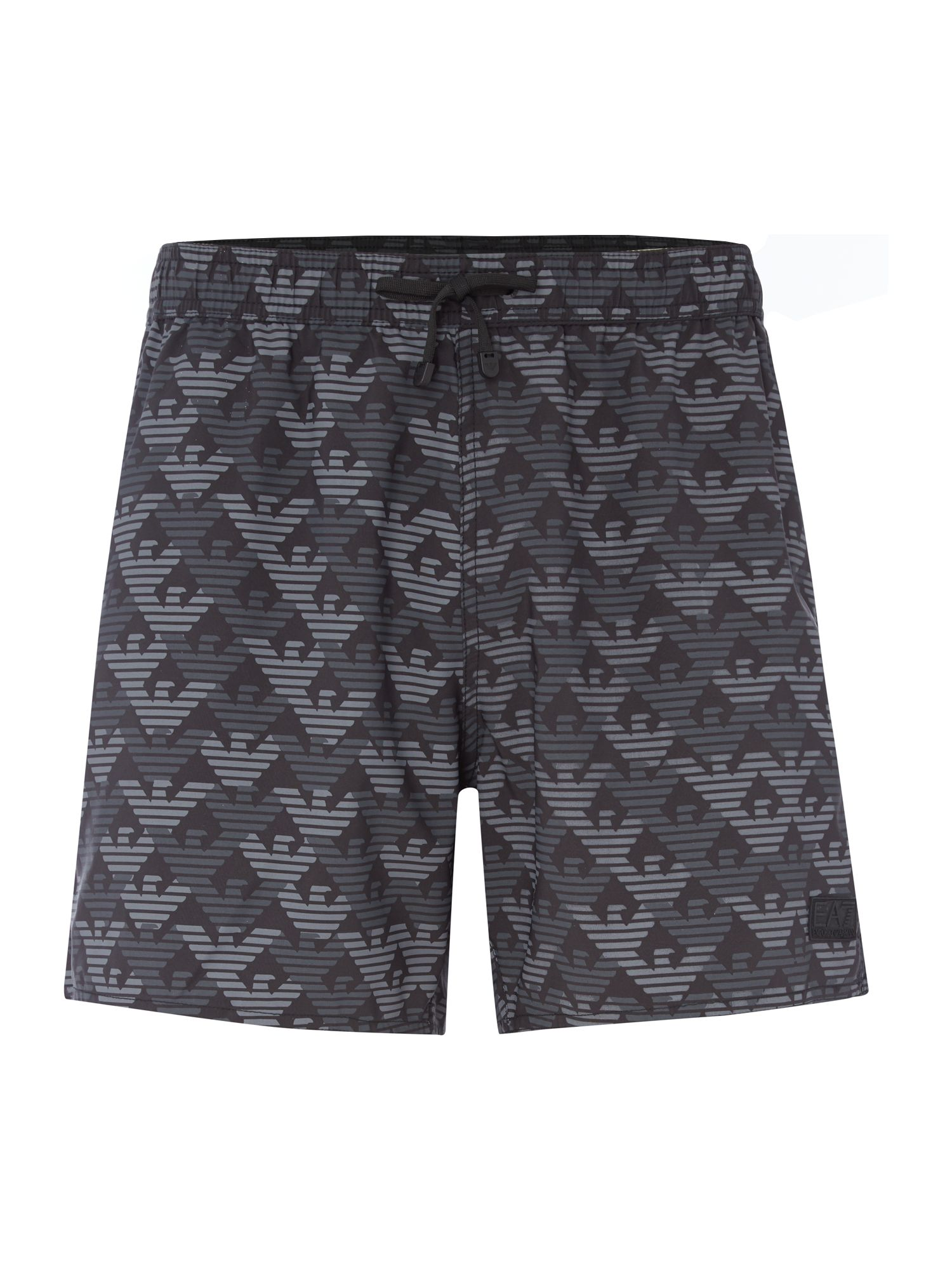 Men's EA7 All over print logo shorts, Black