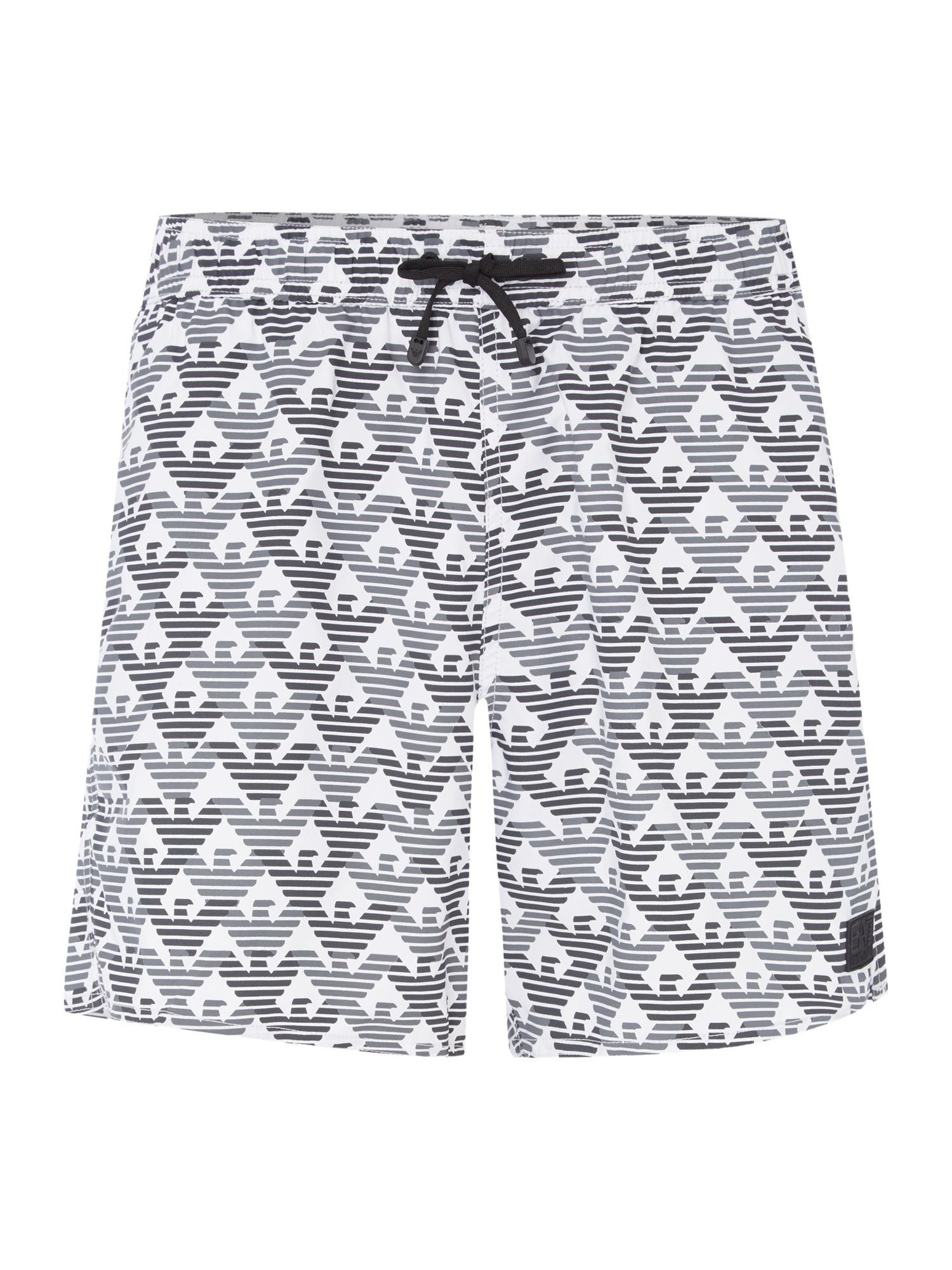 Men's EA7 All over print logo shorts, White