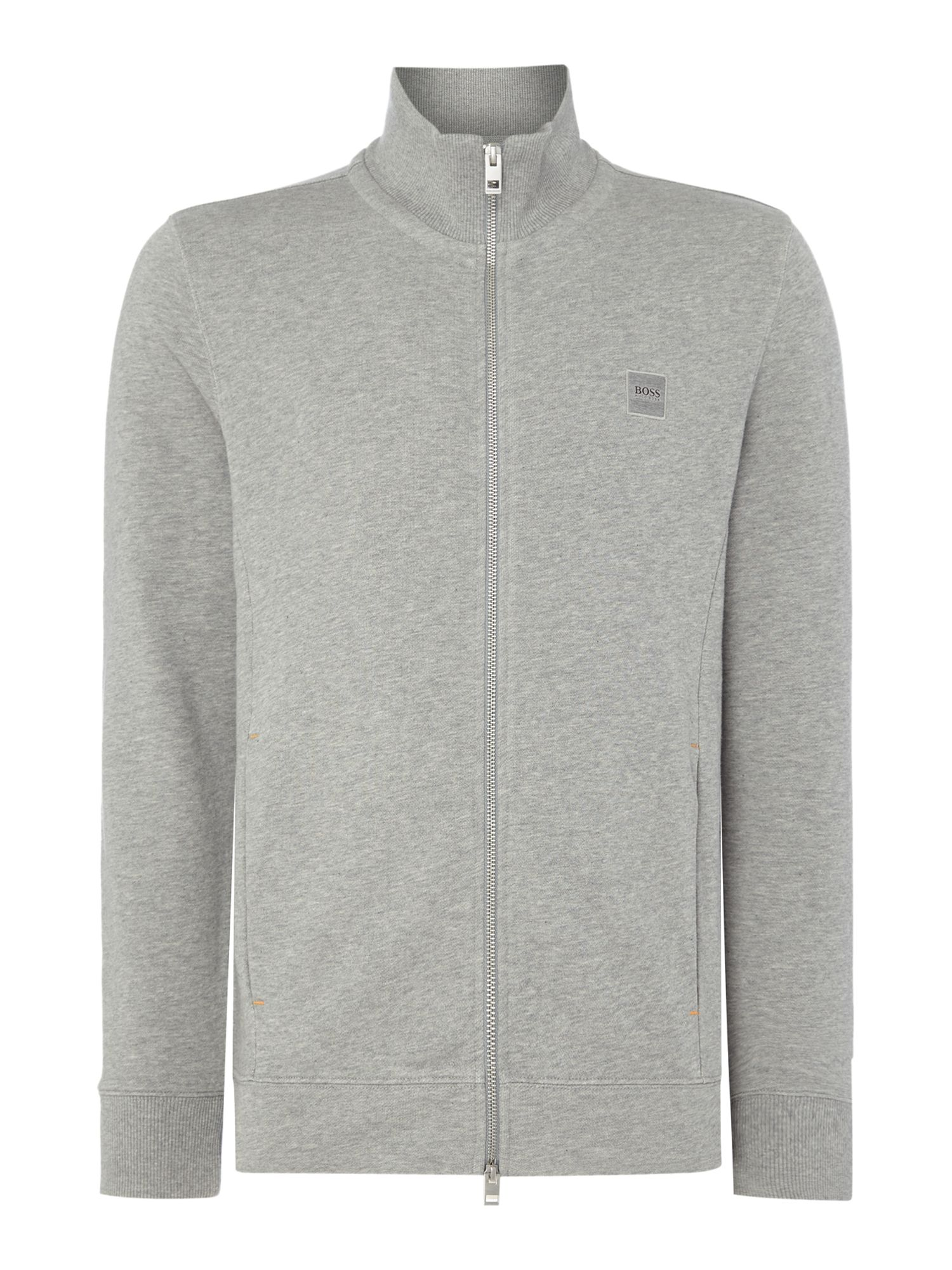 Men's Hugo Boss Zissou zip through funnel neck sweat top, Grey Marl