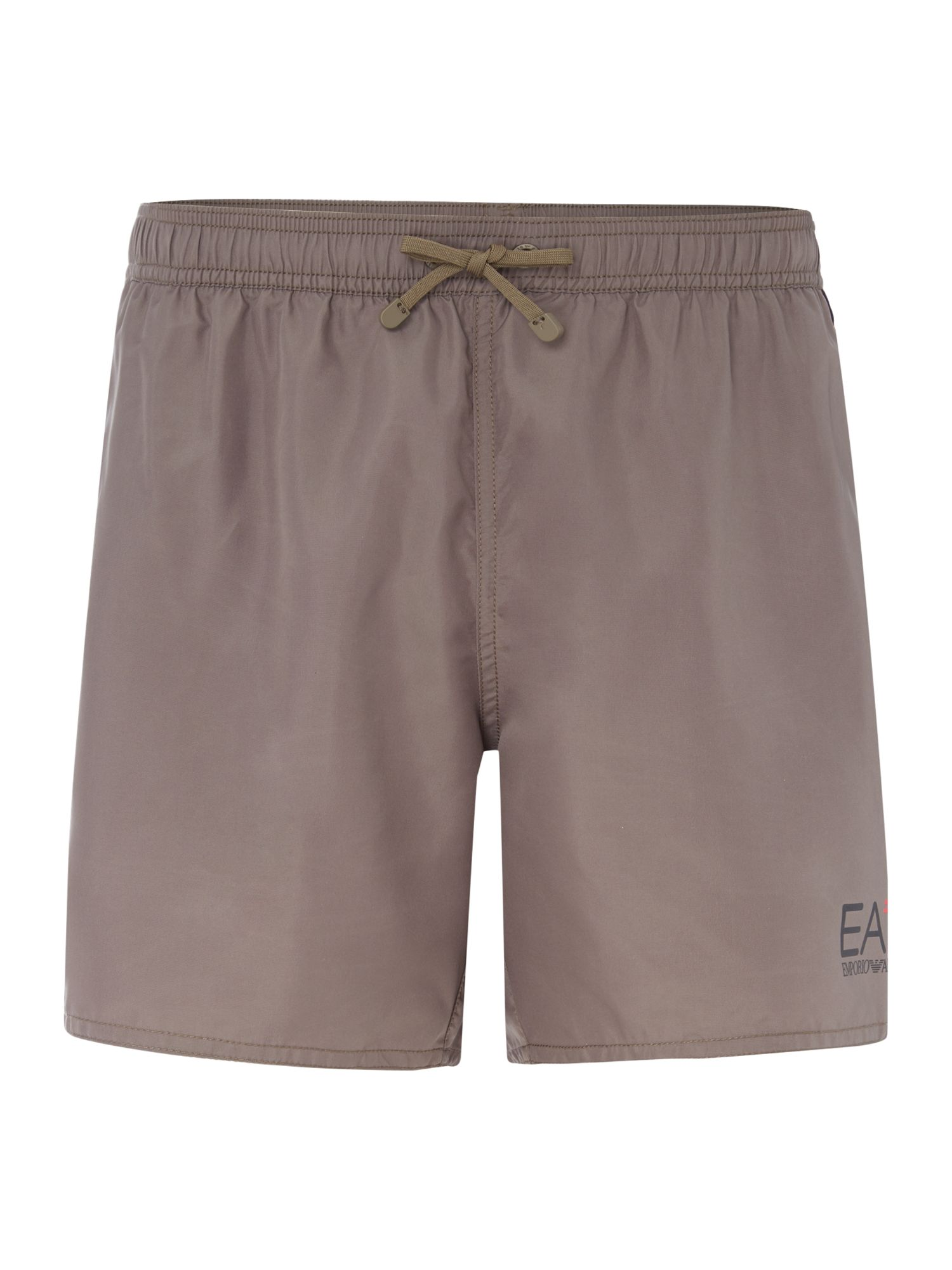 Men's EA7 Plain Logo Swim Shorts, Grey