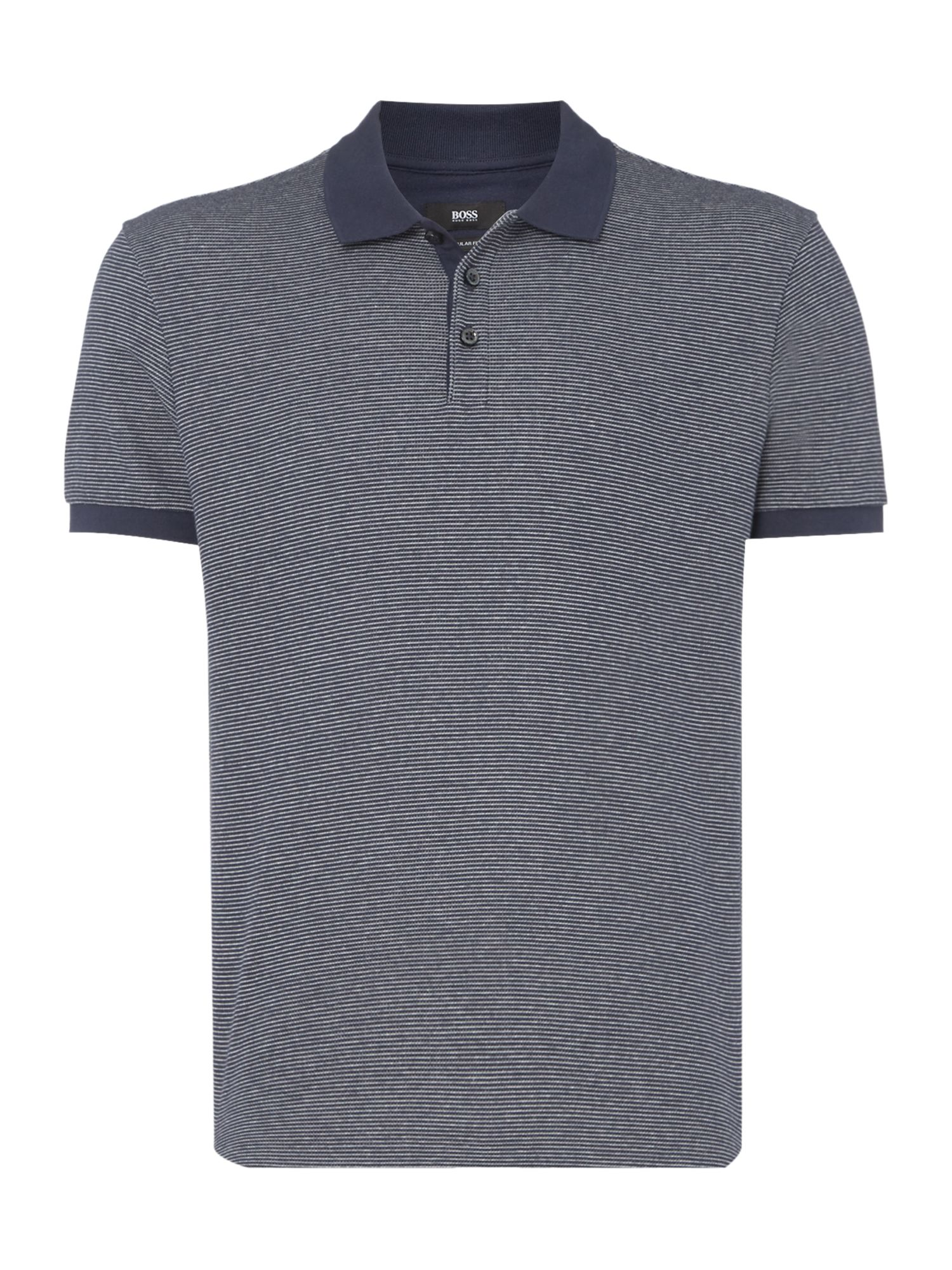 Men's Hugo Boss Striped Cotton Regular Fit Polo Shirt, Blue