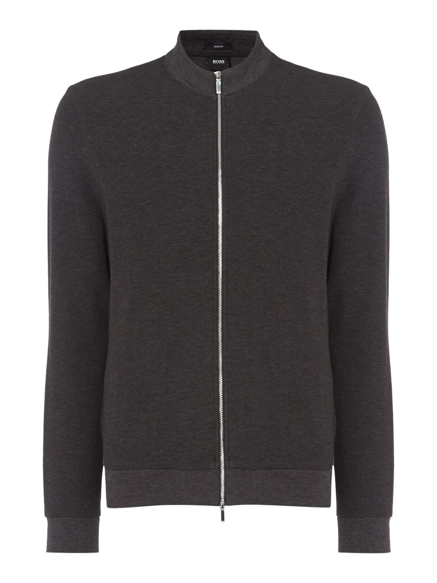 Men's Hugo Boss Zip-Up Funnel Neck Slim Fit Sweat Shirt, Charcoal