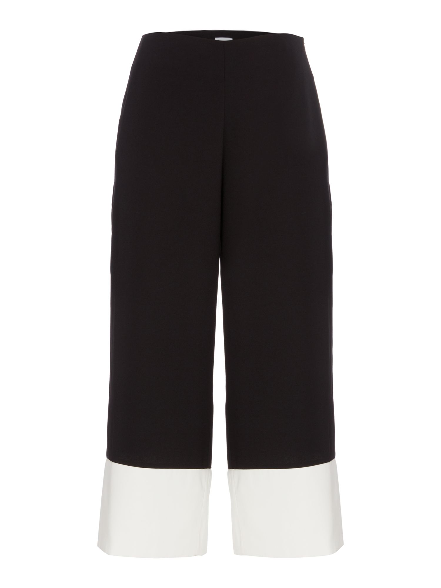 Linea Etta contrast hem cropped trousers, Black