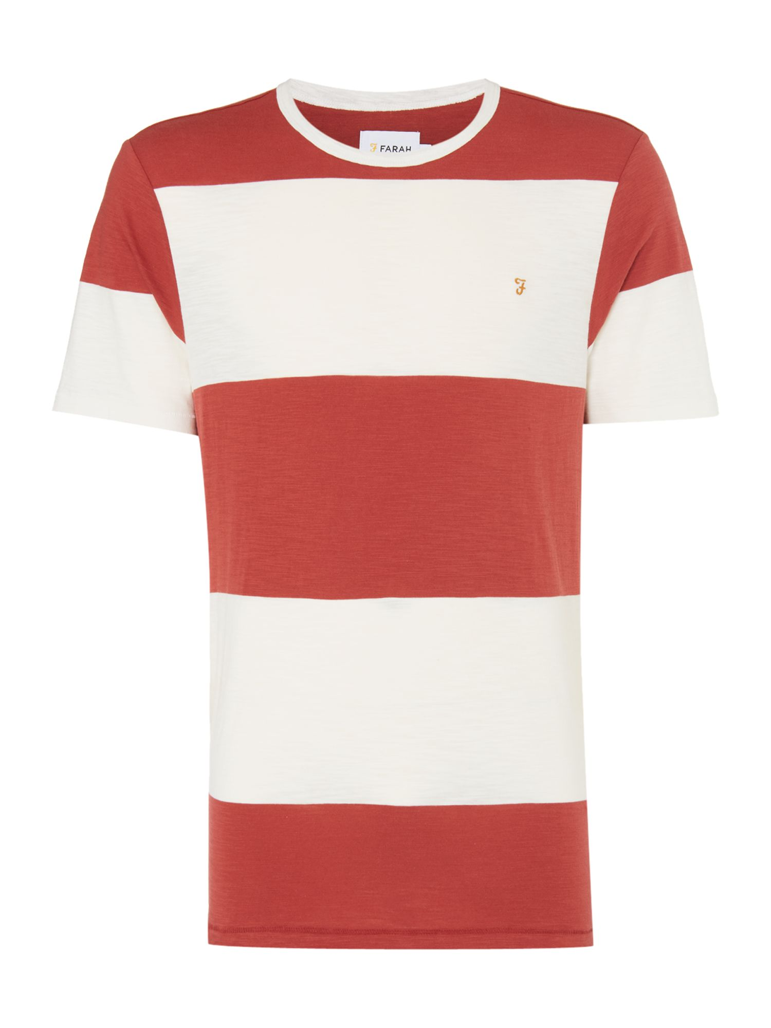 Men's Farah Woolacombe Striped Tshirt, Washed Red