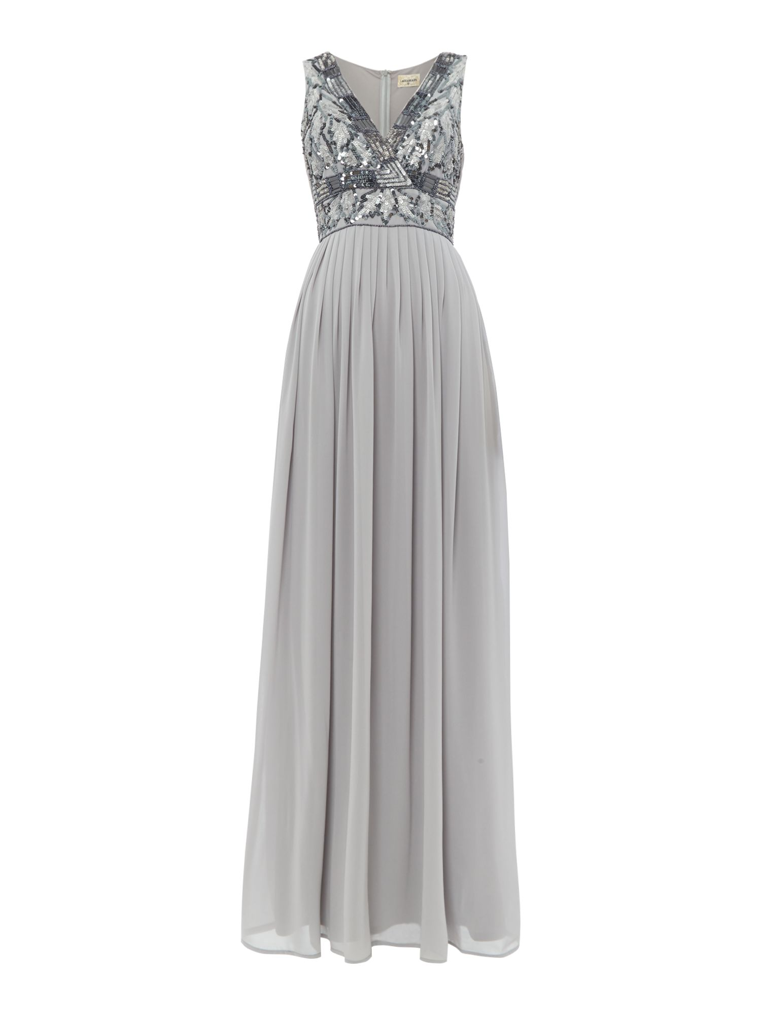 Lace and Beads Sleeveless V neck maxi dress, Grey