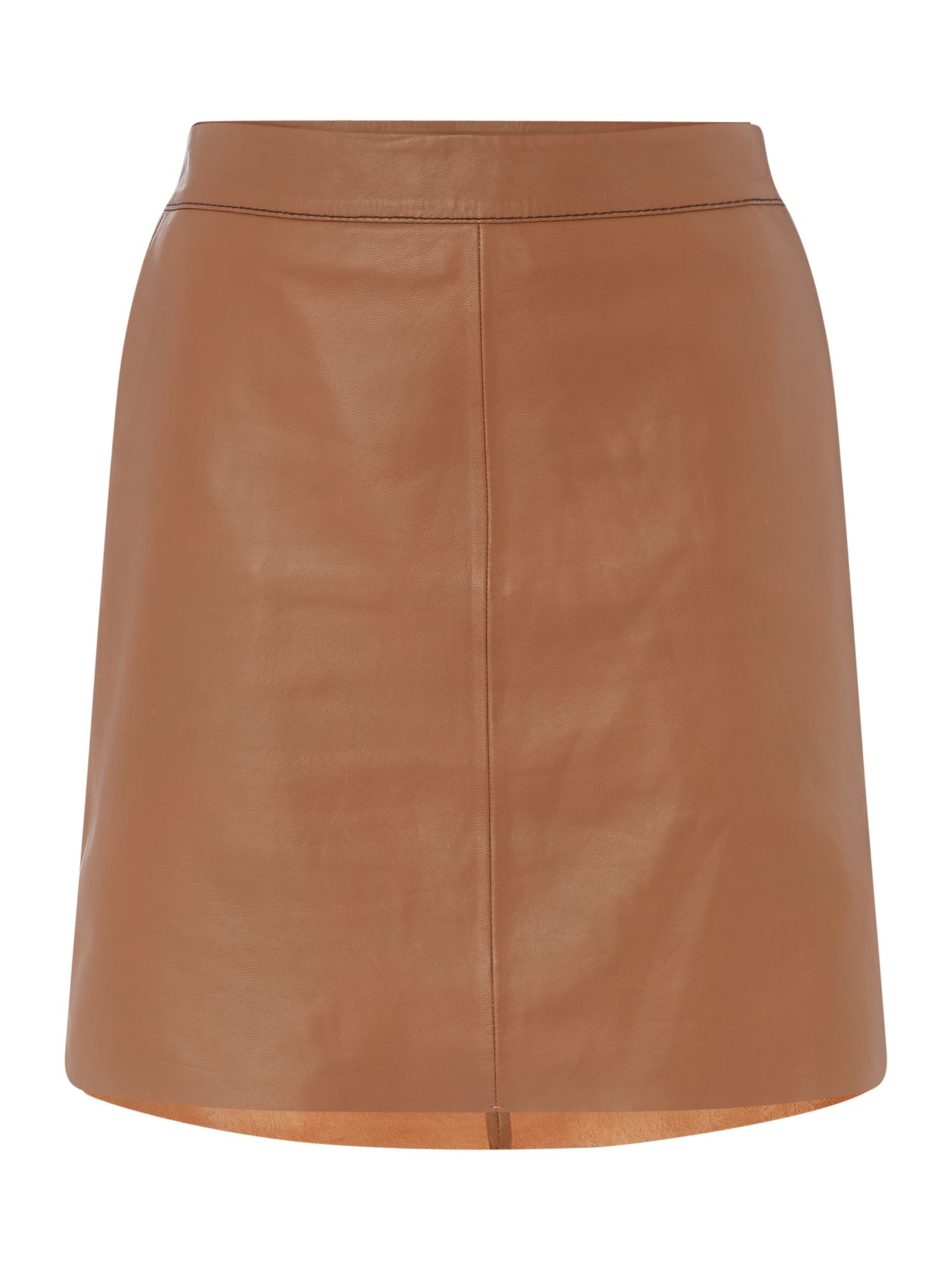 Maison De Nimes Leather Skirt, Tan