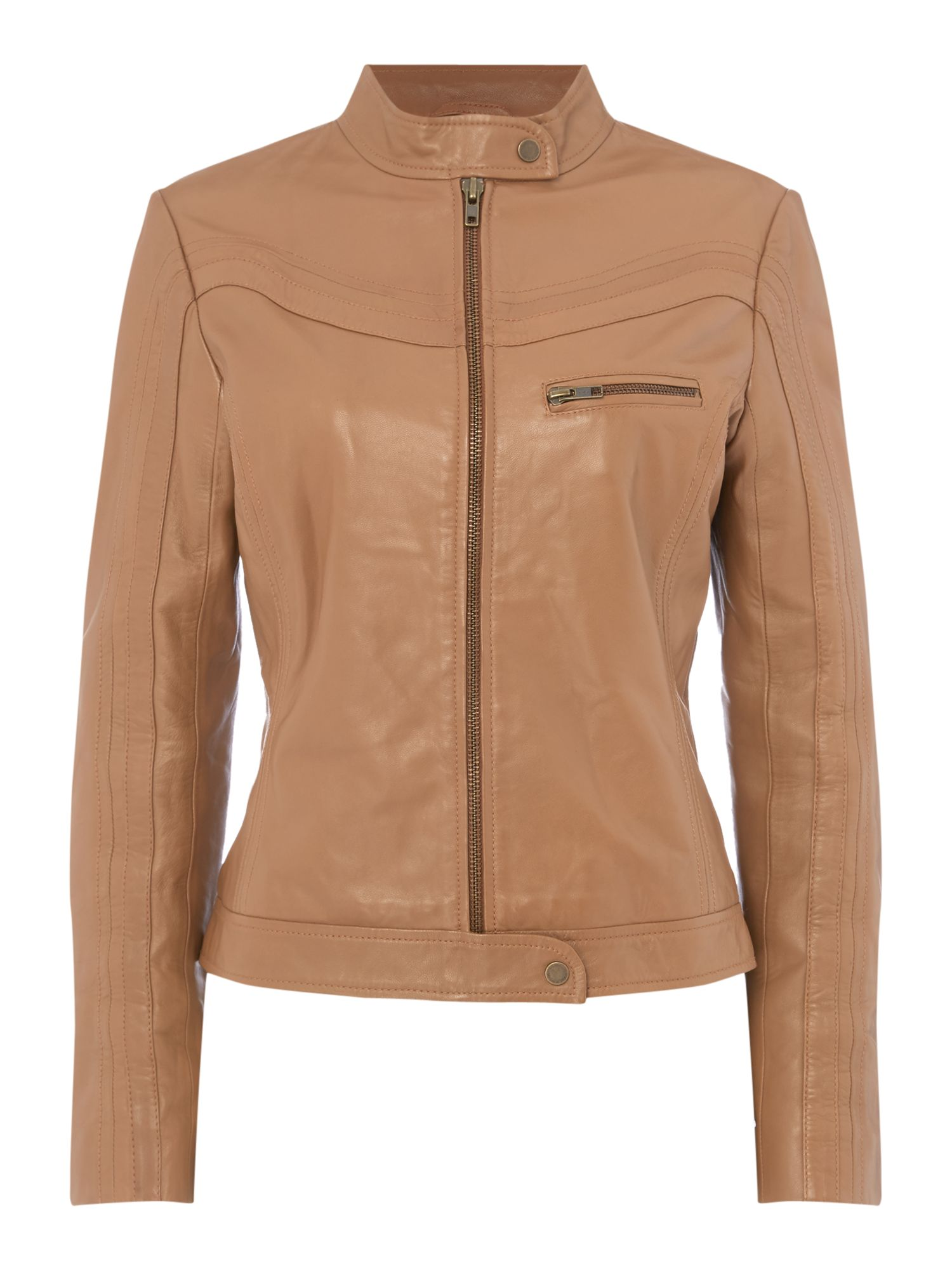 Maison De Nimes Curve Leather Biker, Tan