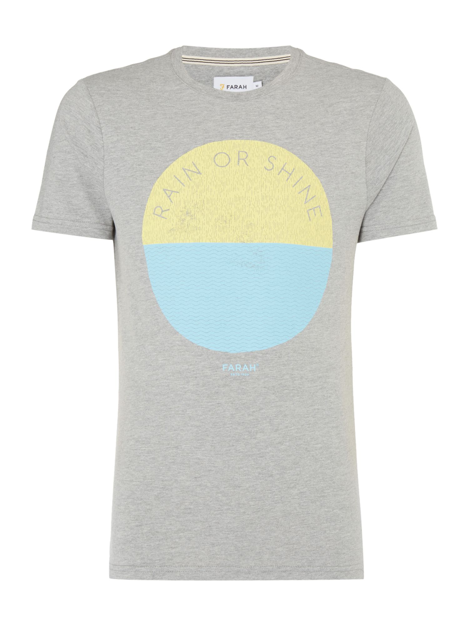 Men's Farah Pete Slim Fit Printed Tshirt, Grey Marl
