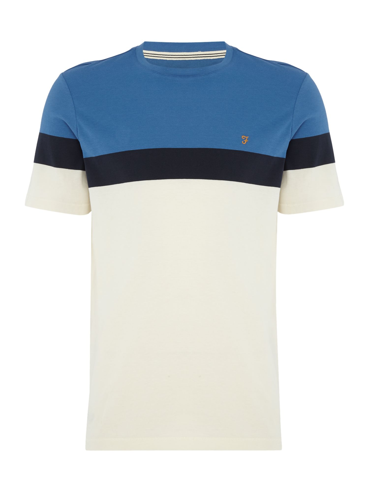 Men's Farah Harlyn Stripe Tshirt, Bright Blue