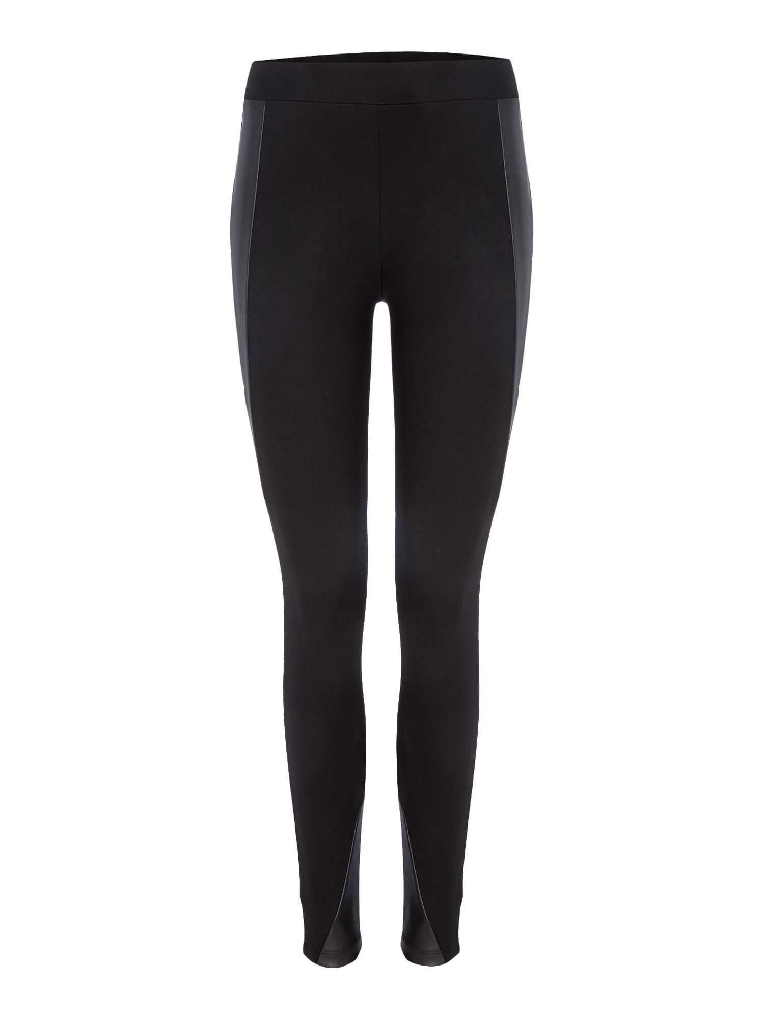 Label Lab Panelled PU Ponte Leggings, Black