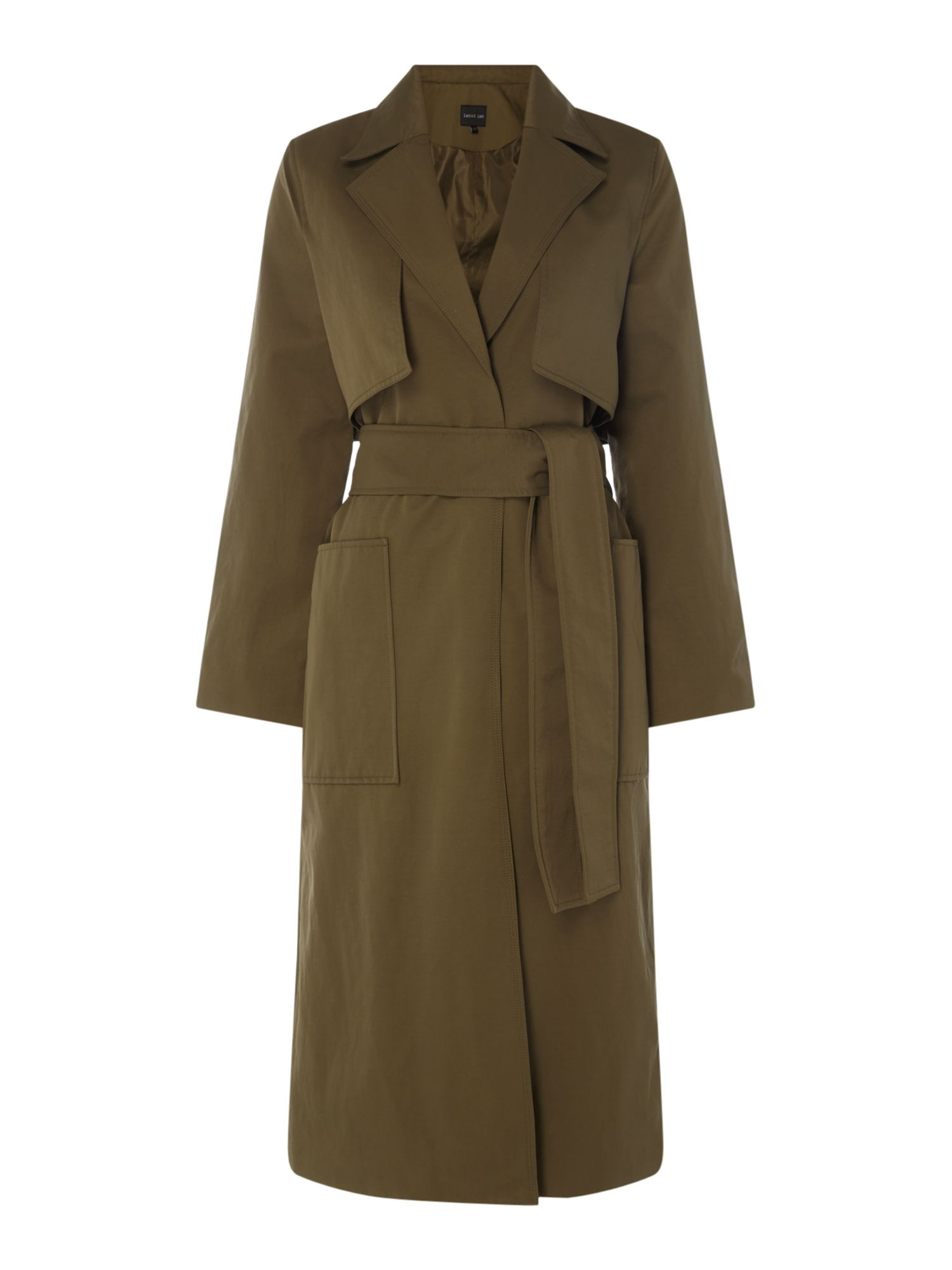 Label Lab Brooke Belted Trench Coat, Khaki