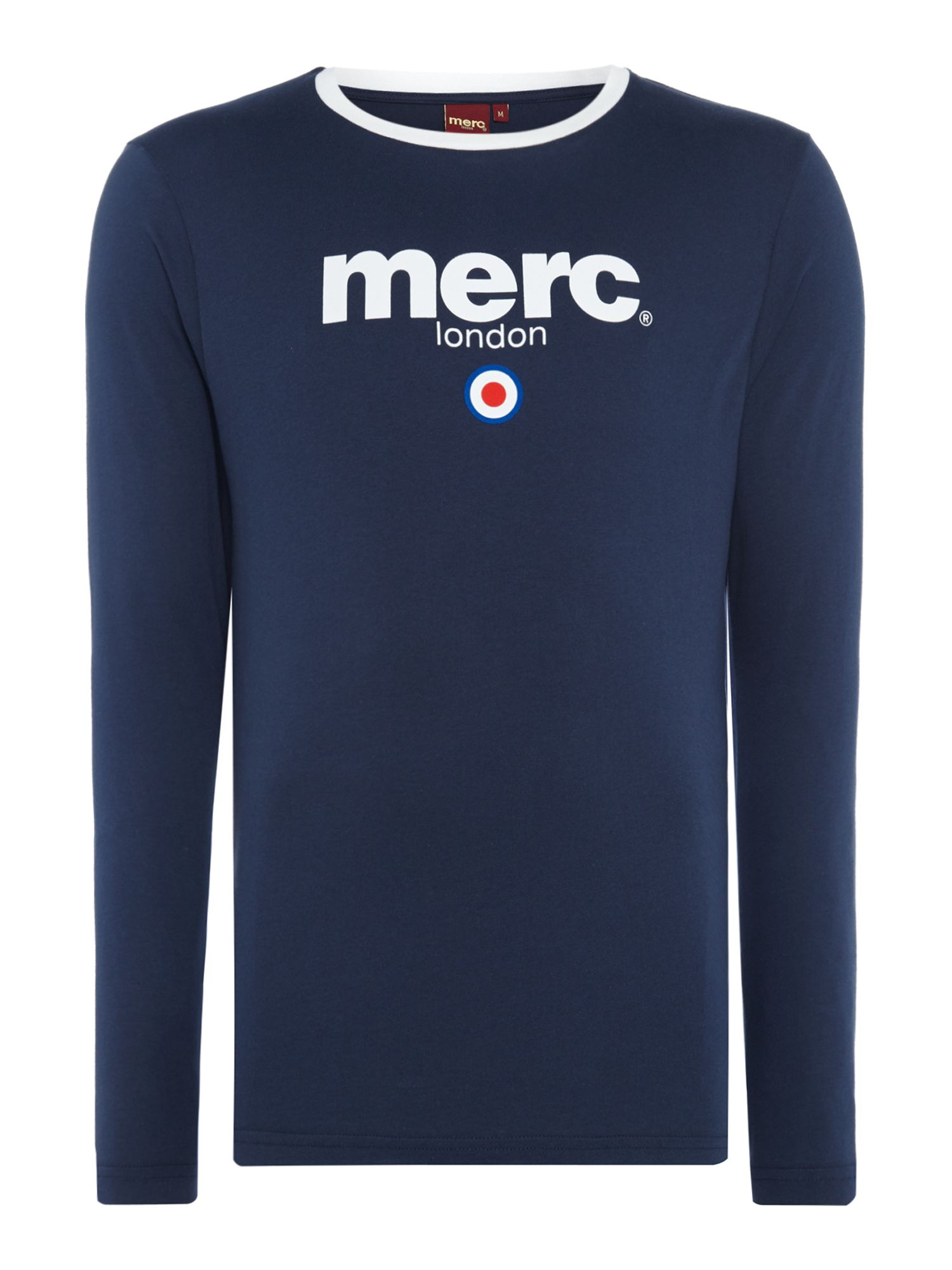 Men's Merc London Target Ringer Tee, Blue