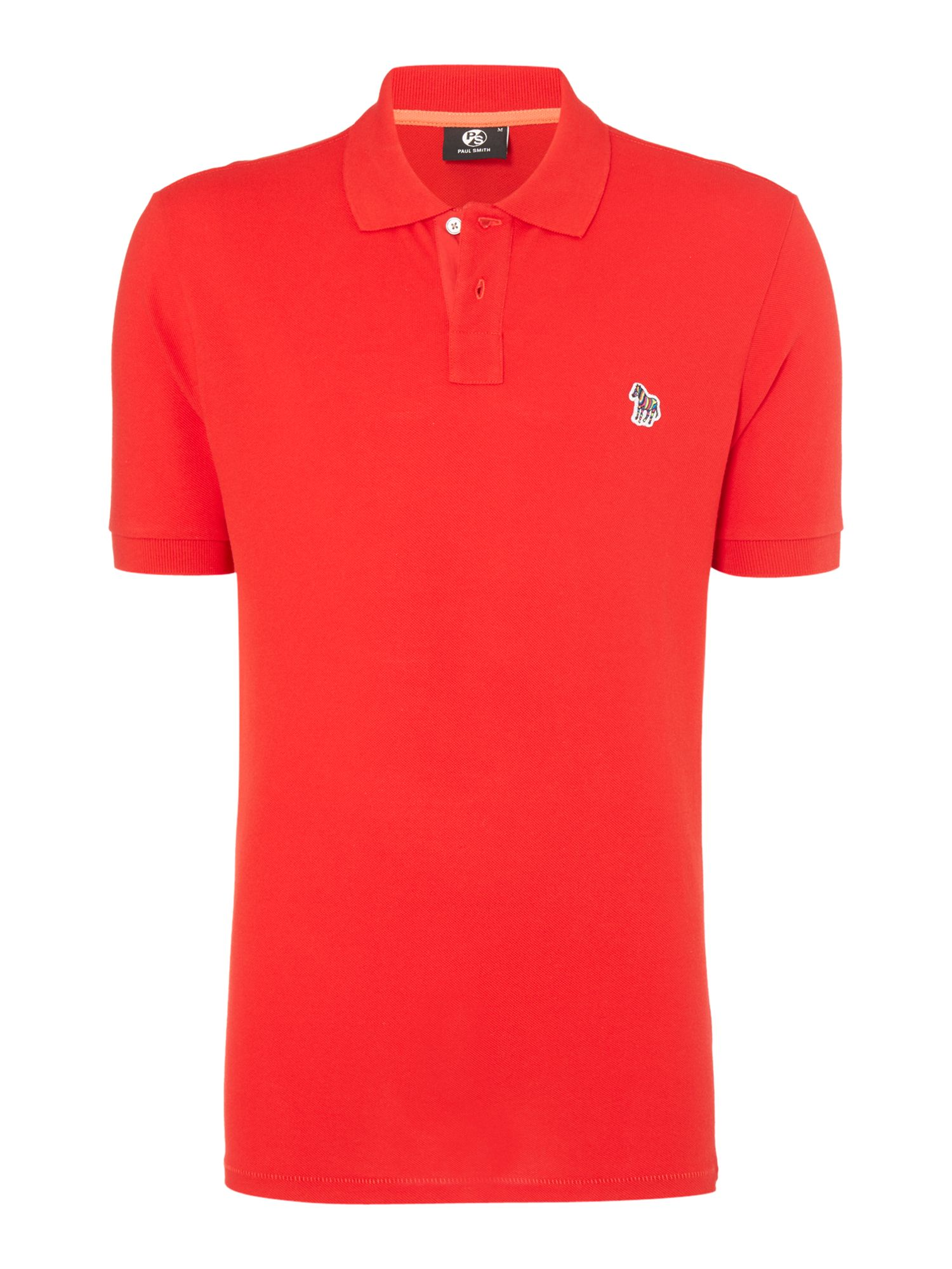 Men's PS By Paul Smith Regular zebra polo top, Red