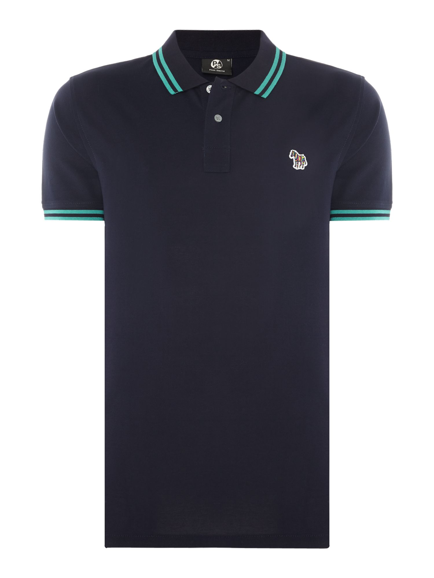 Men's PS By Paul Smith Zebra logo tipped polo, Blue